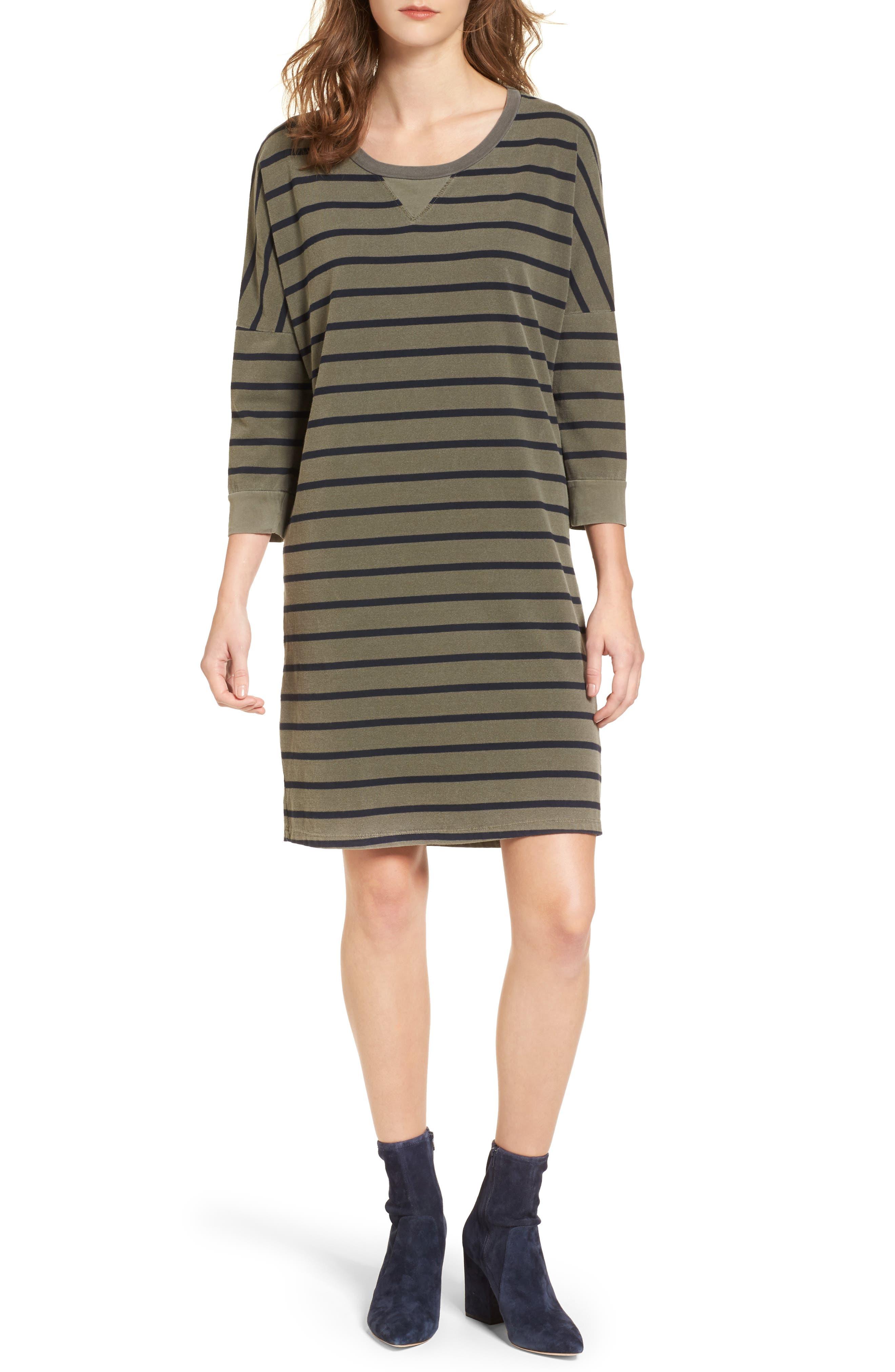 Stripe T-Shirt Dress,                         Main,                         color, Fern