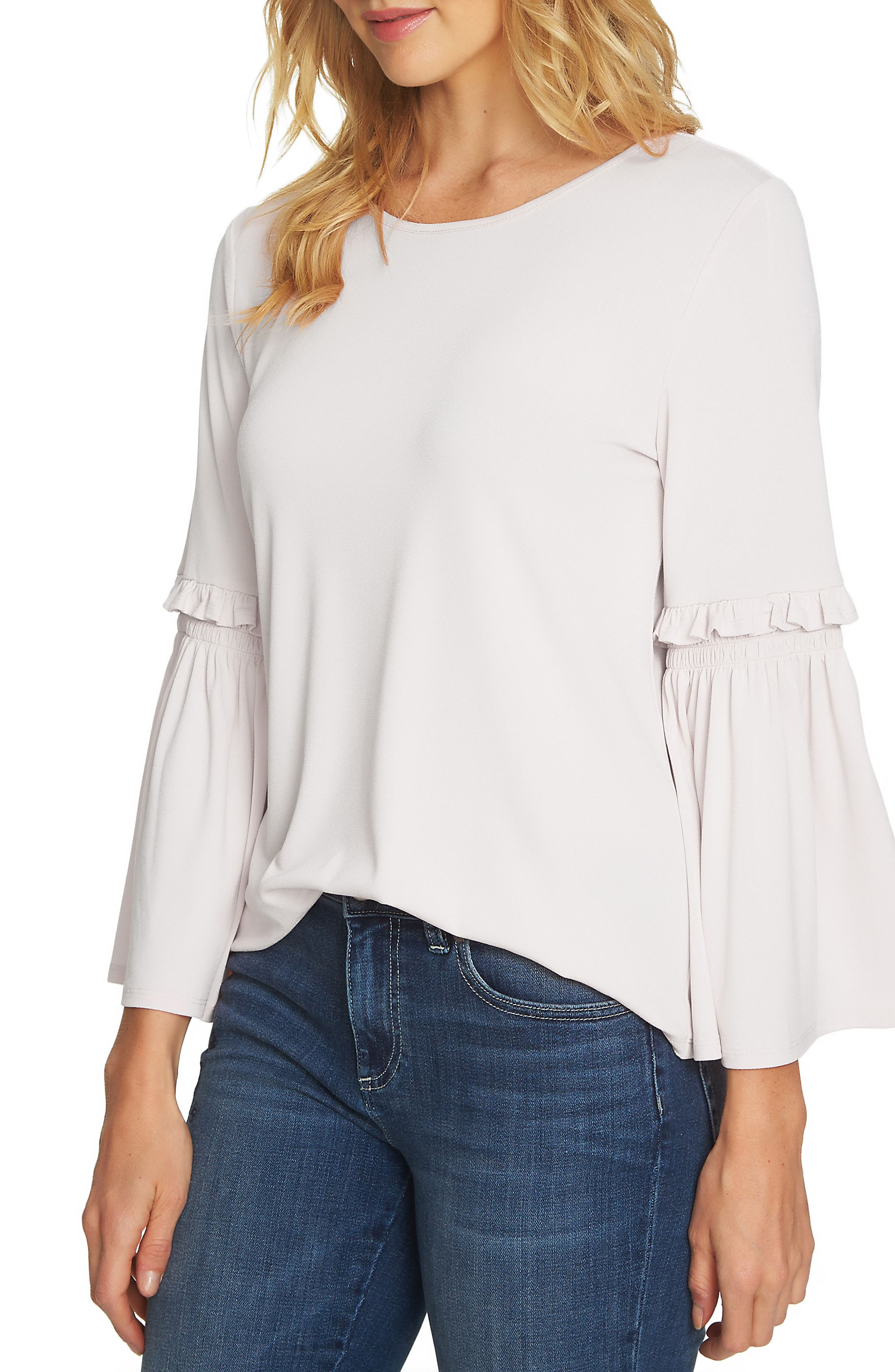 Bell Sleeve Knit Top,                             Main thumbnail 1, color,                             Antique White