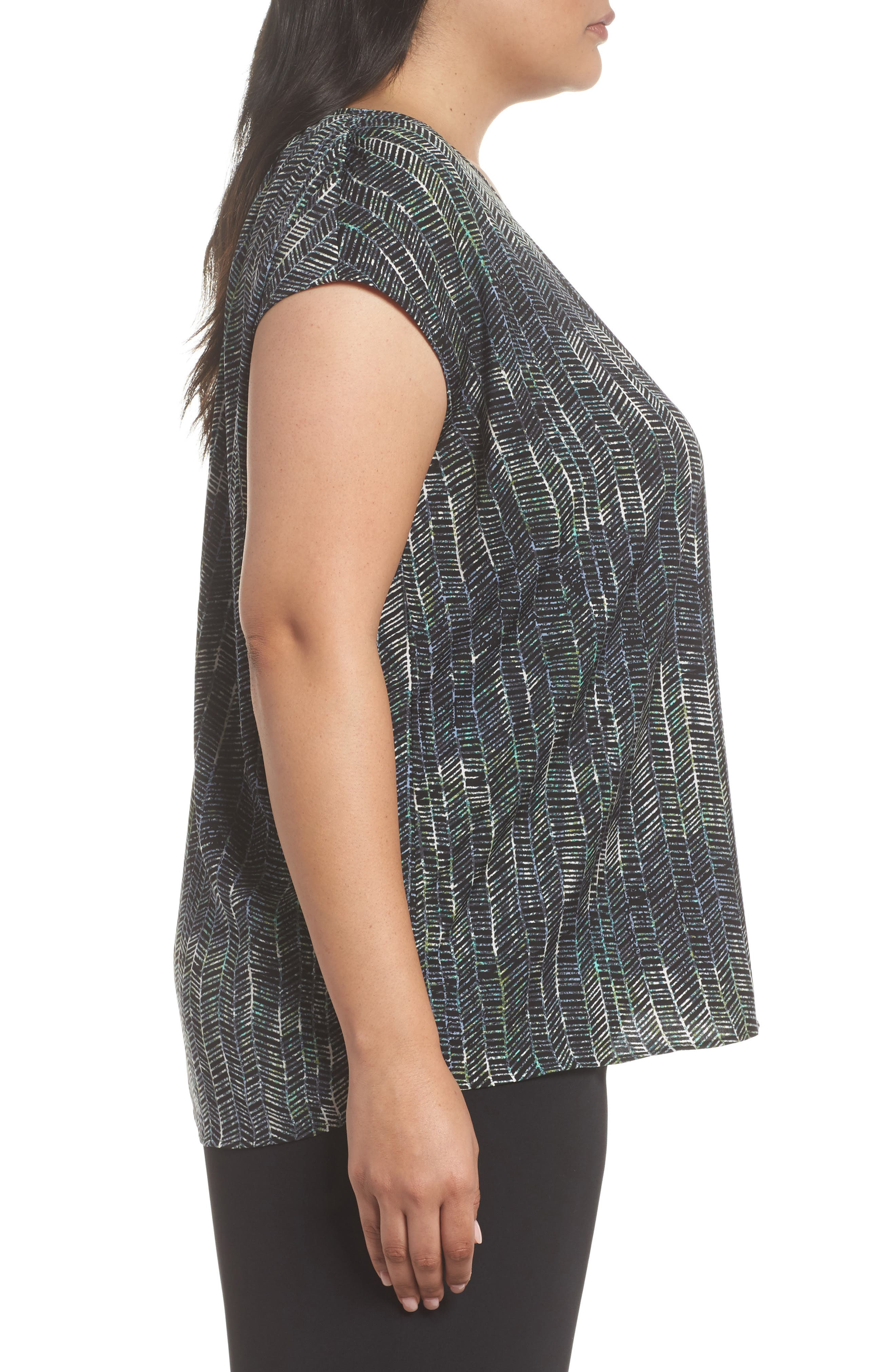Ruched Shoulder Shell,                             Alternate thumbnail 3, color,                             Black Painted Geo