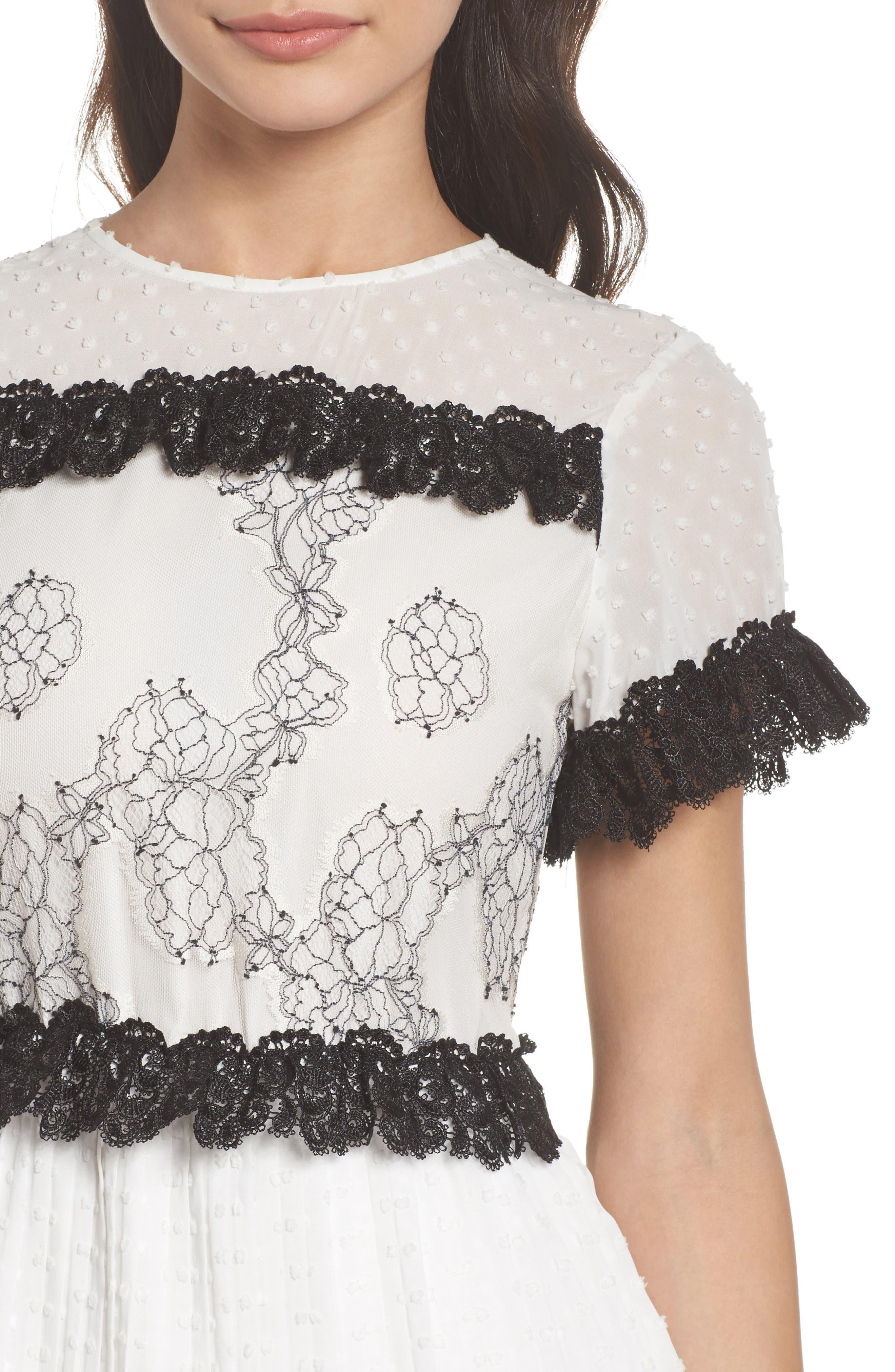 Melita Tiered Lace Dress,                             Alternate thumbnail 4, color,                             White W/ Black Lace
