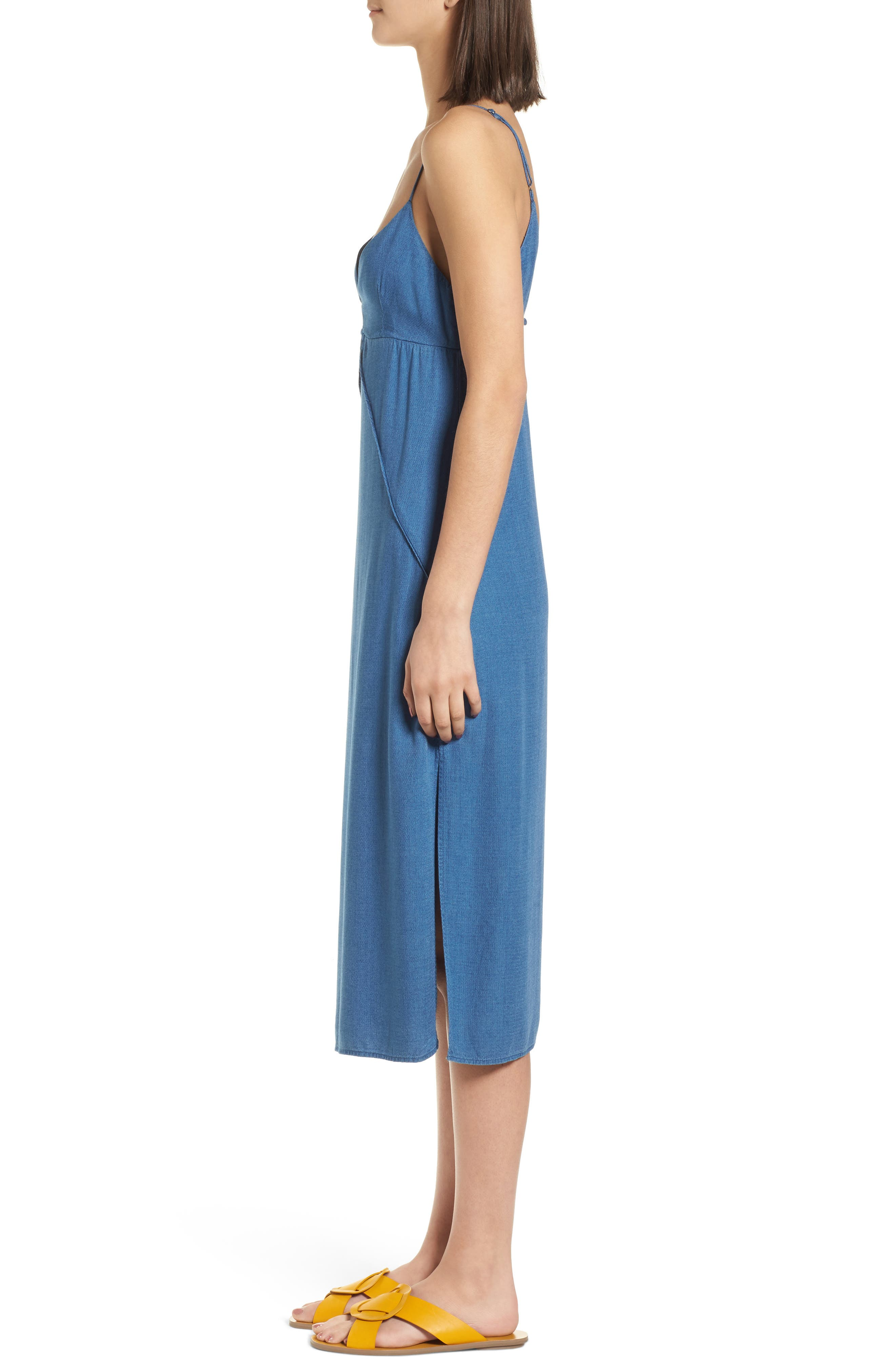 Chambray Camisole Dress,                             Alternate thumbnail 3, color,                             Med Wash