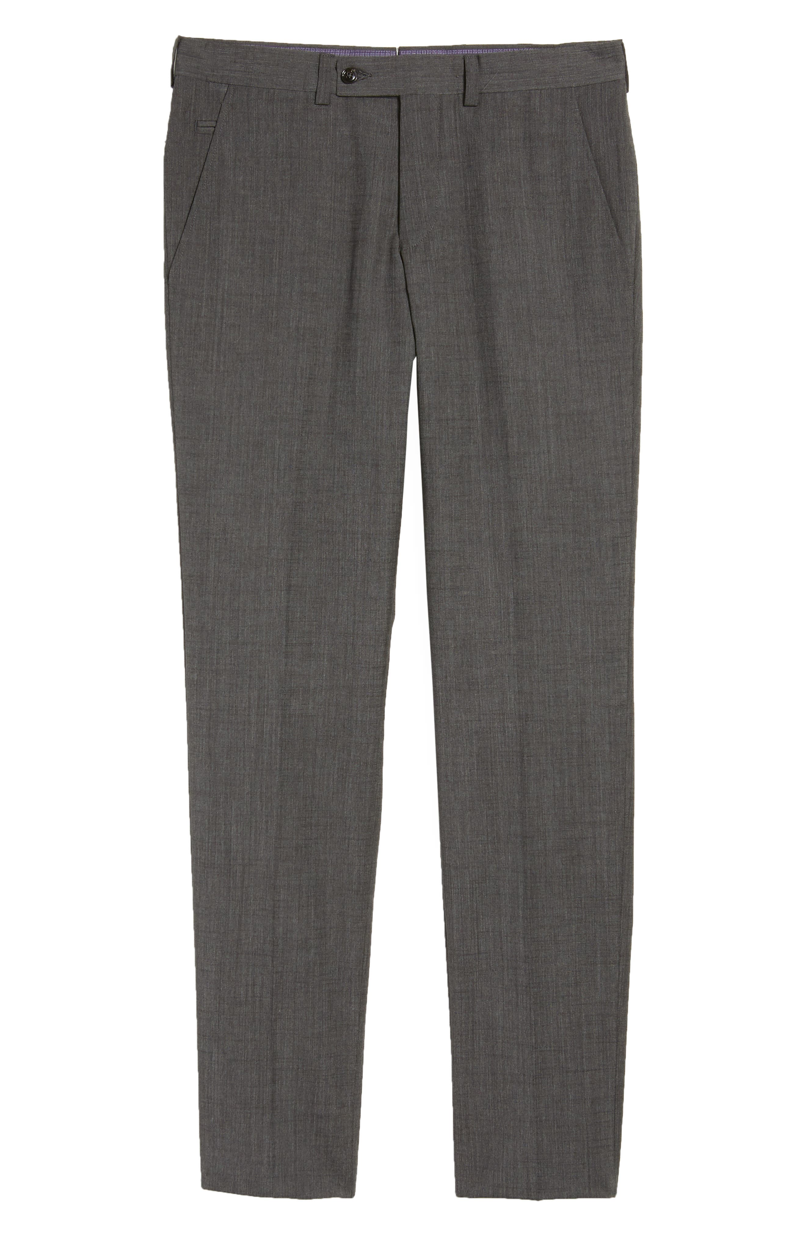 Jerome Flat Front Solid Wool & Cotton Trousers,                             Alternate thumbnail 6, color,                             Charcoal