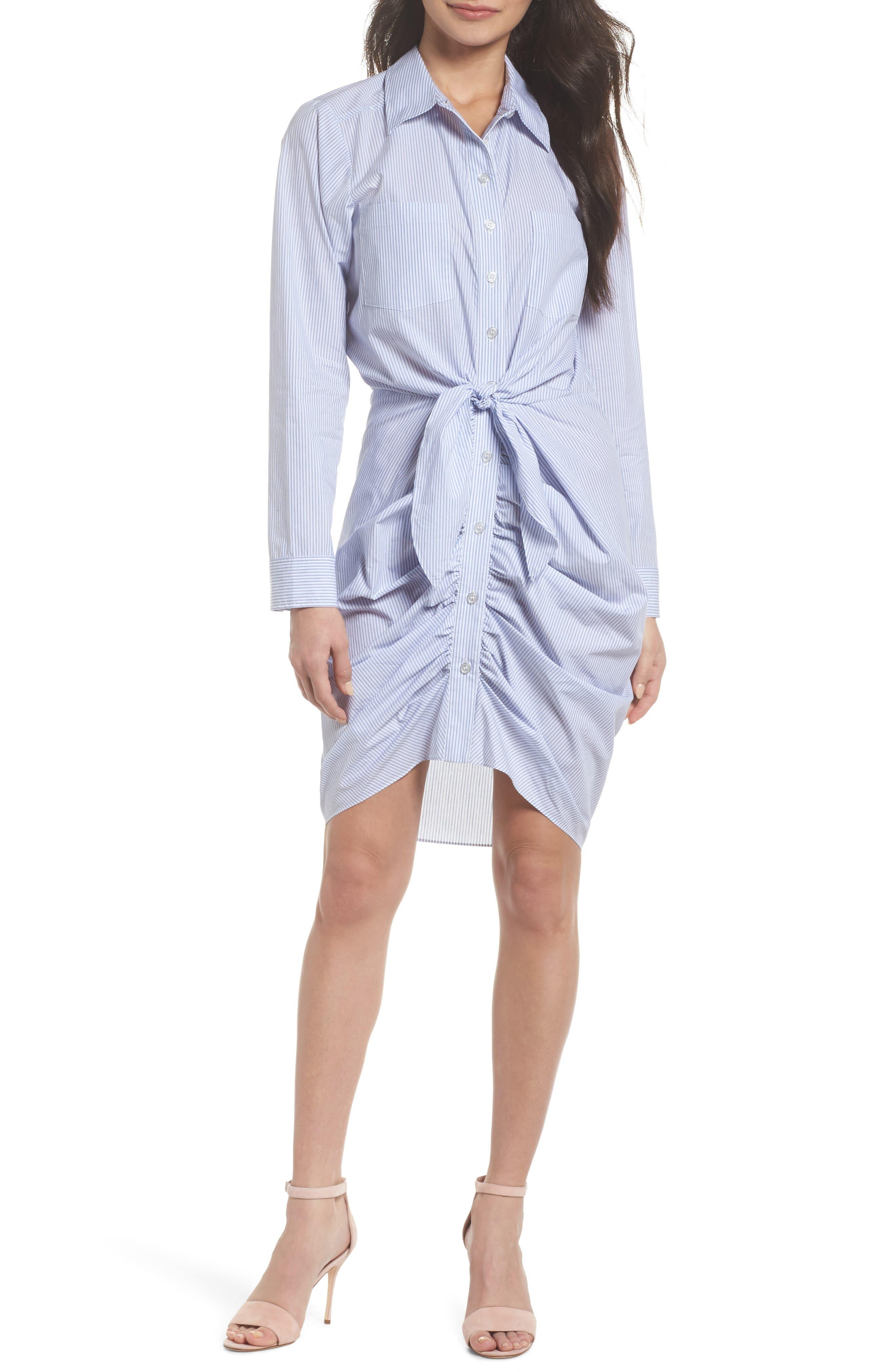 Ruched Tie Waist Shirtdress,                         Main,                         color, Blue/ White Stripe