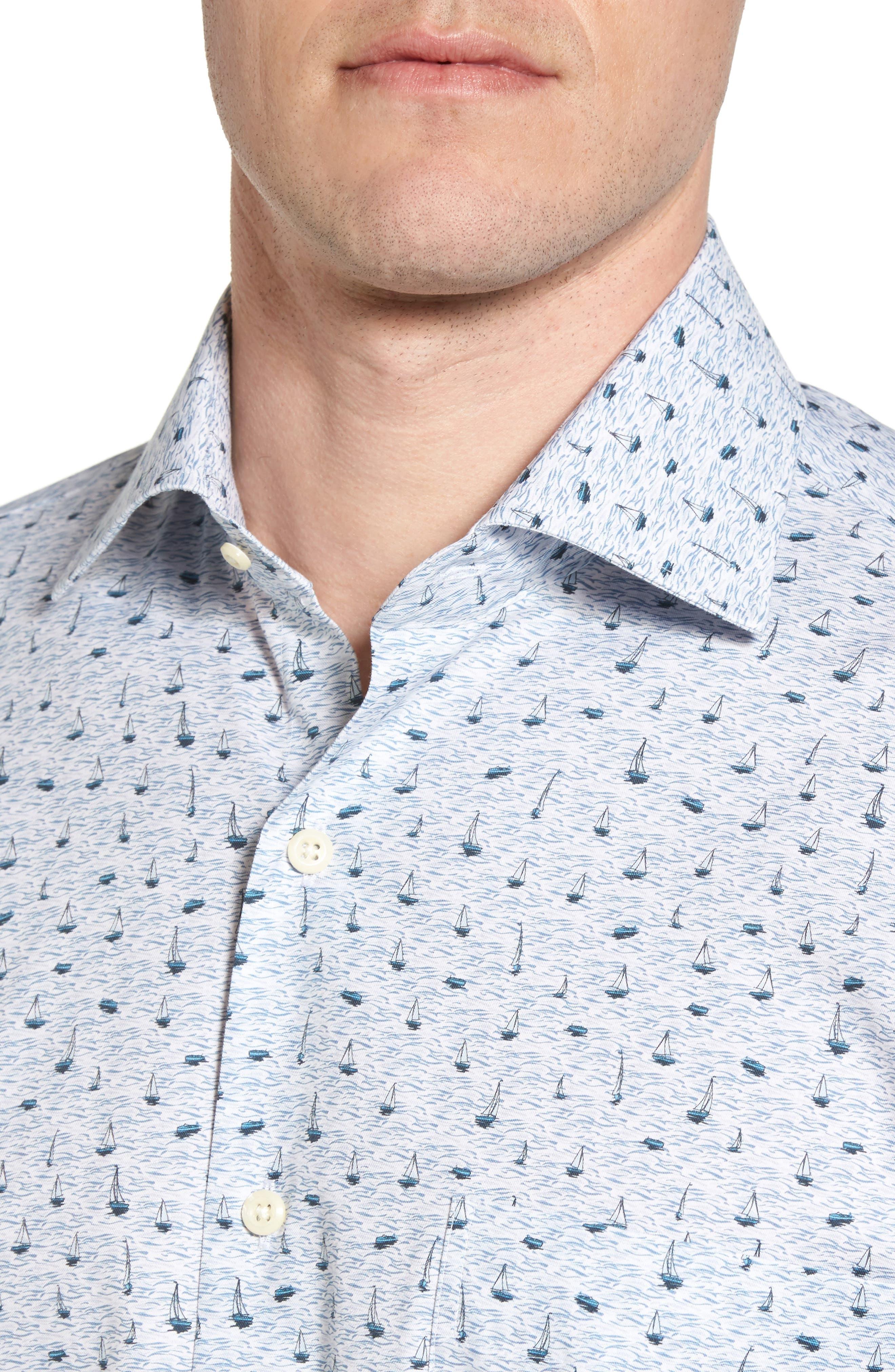 Stormy Tide Regular Fit Sport Shirt,                             Alternate thumbnail 4, color,                             Atlantic Blue