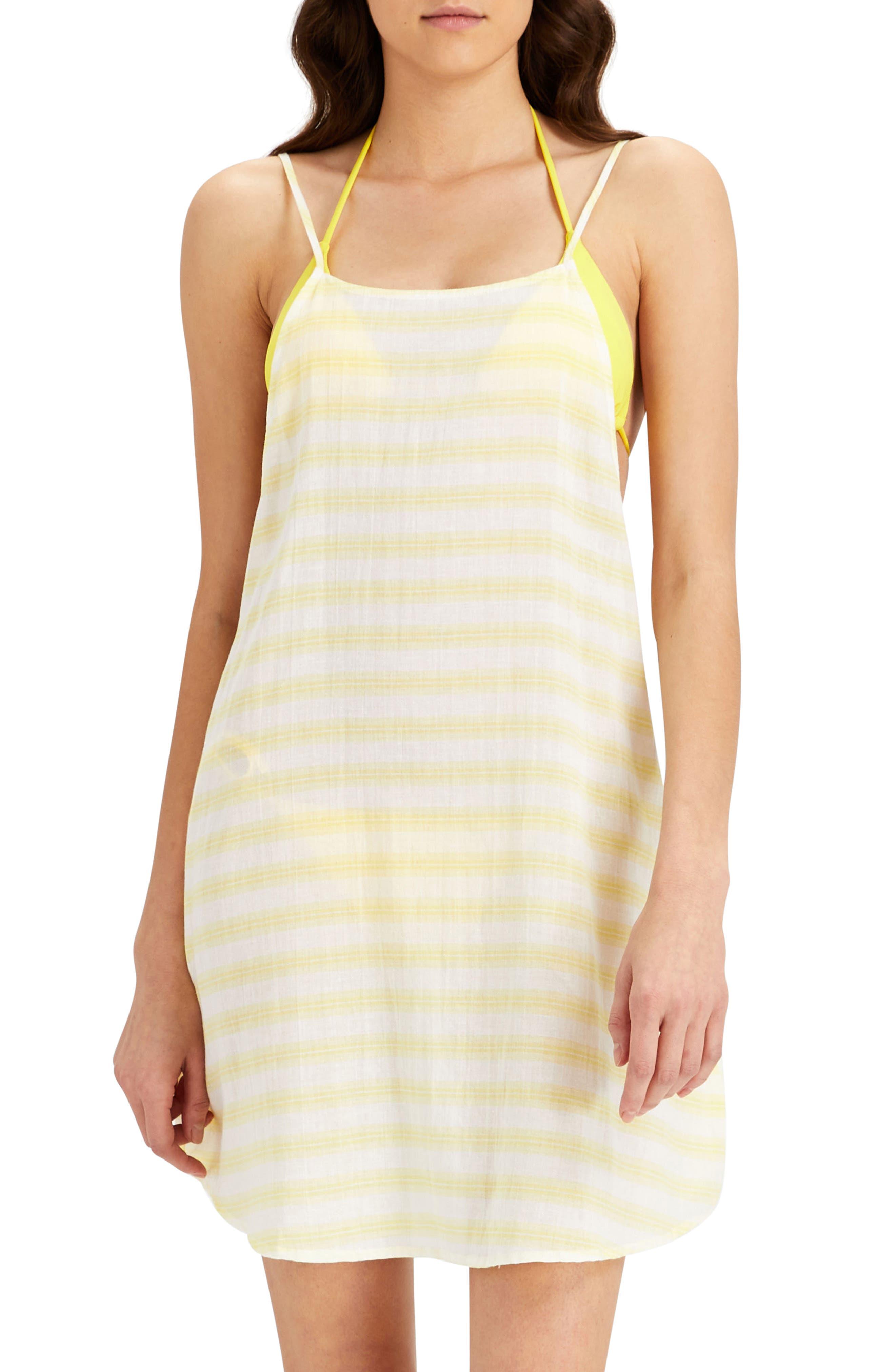 Sasha Cover-Up Shirtdress,                         Main,                         color, Citrus/ White