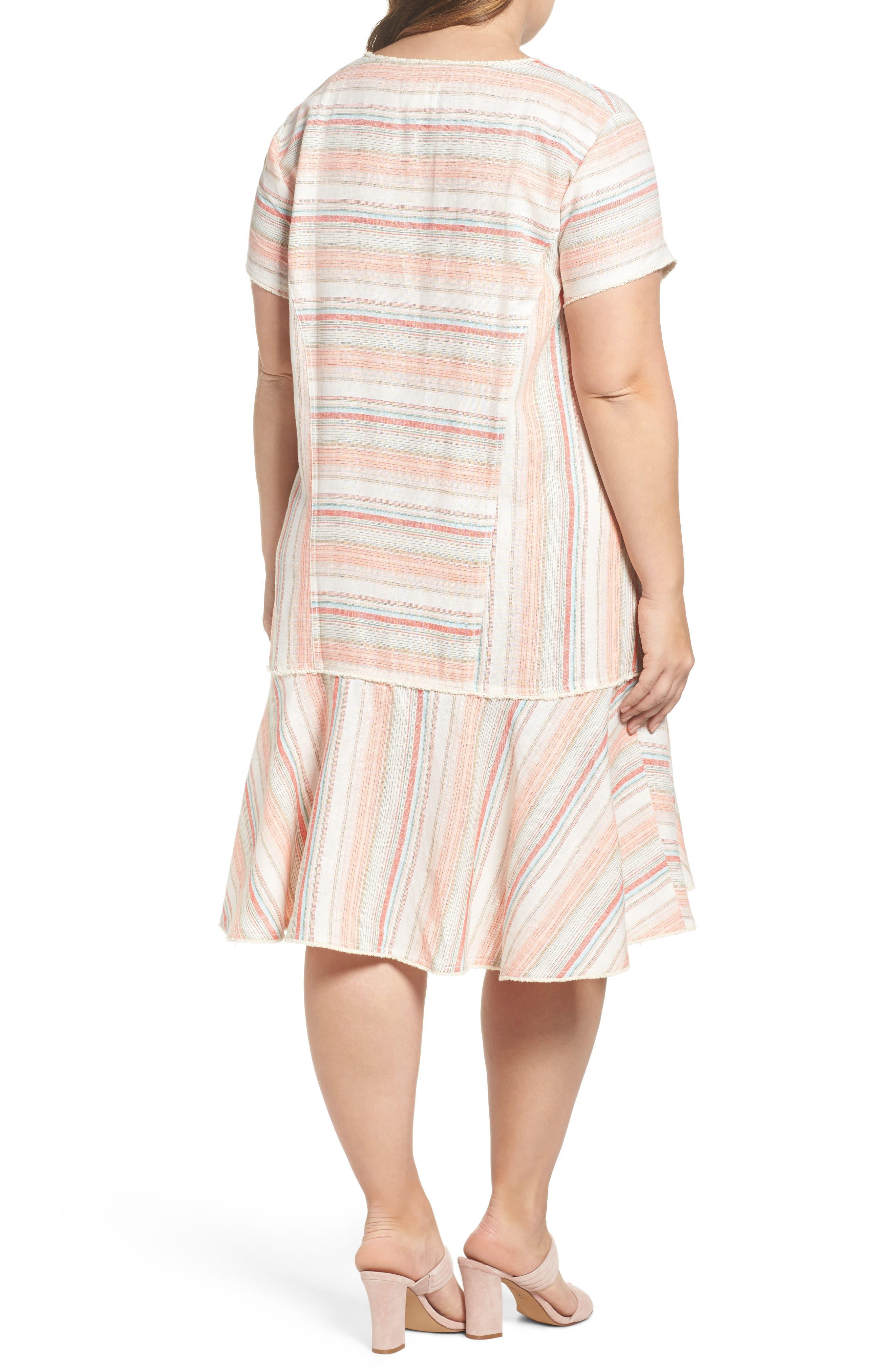 Raw Edge Stripe Linen Blend Dress,                             Alternate thumbnail 2, color,                             Coral Stripe
