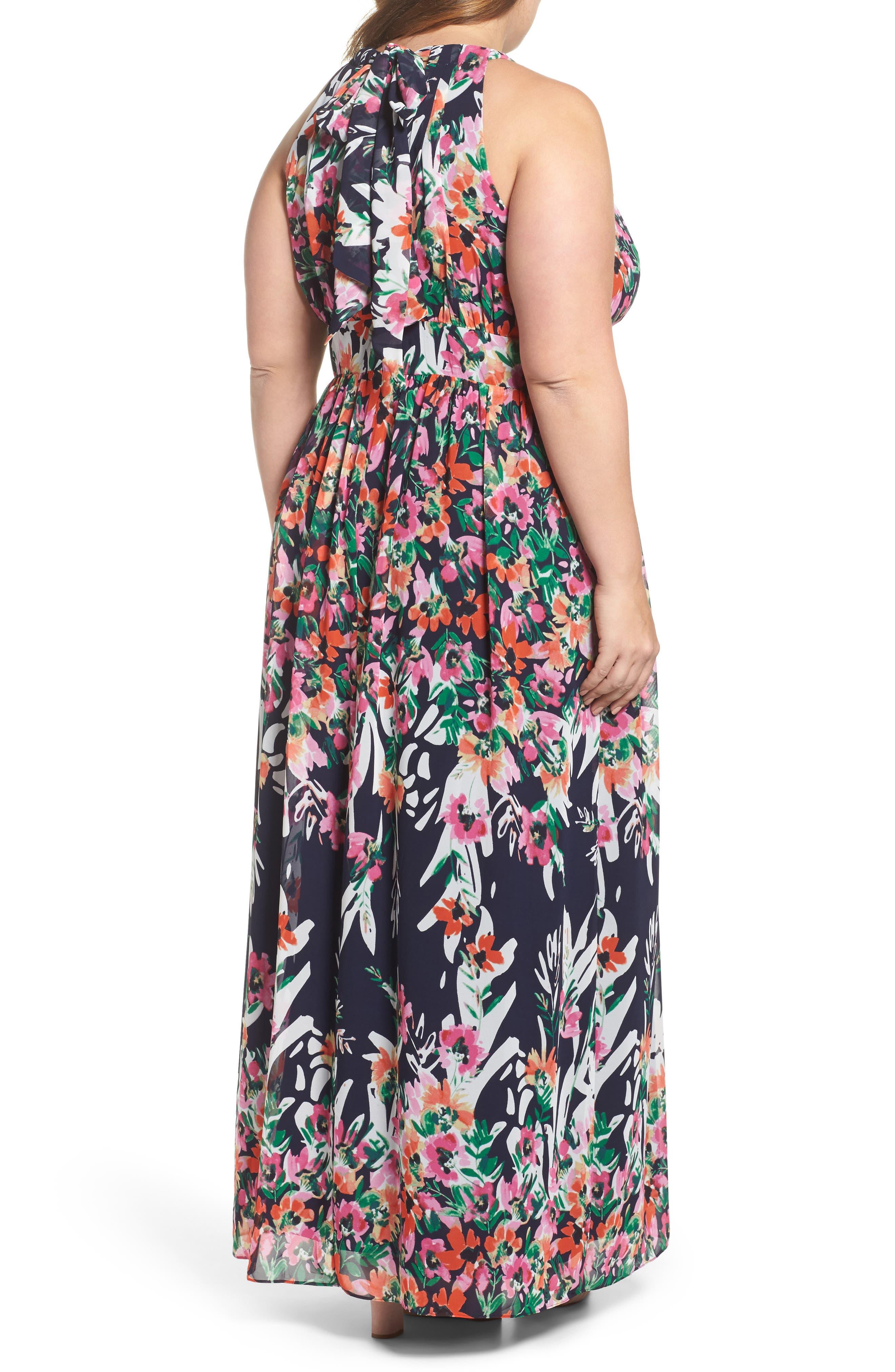 Floral Halter Chiffon Maxi Dress,                             Alternate thumbnail 2, color,                             Navy/ Pink