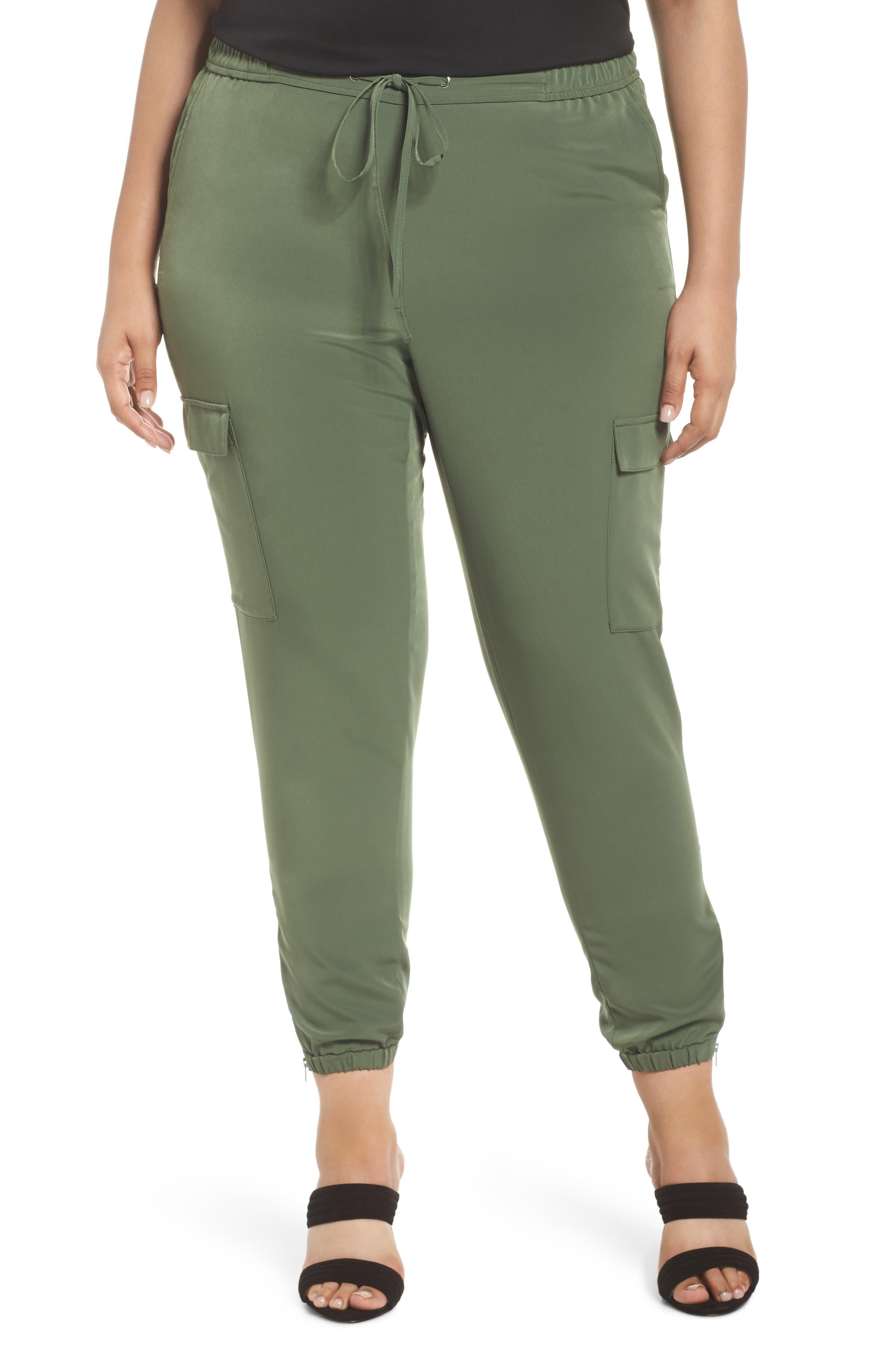 Zip Ankle Jogger Pants,                         Main,                         color, Green Bronze