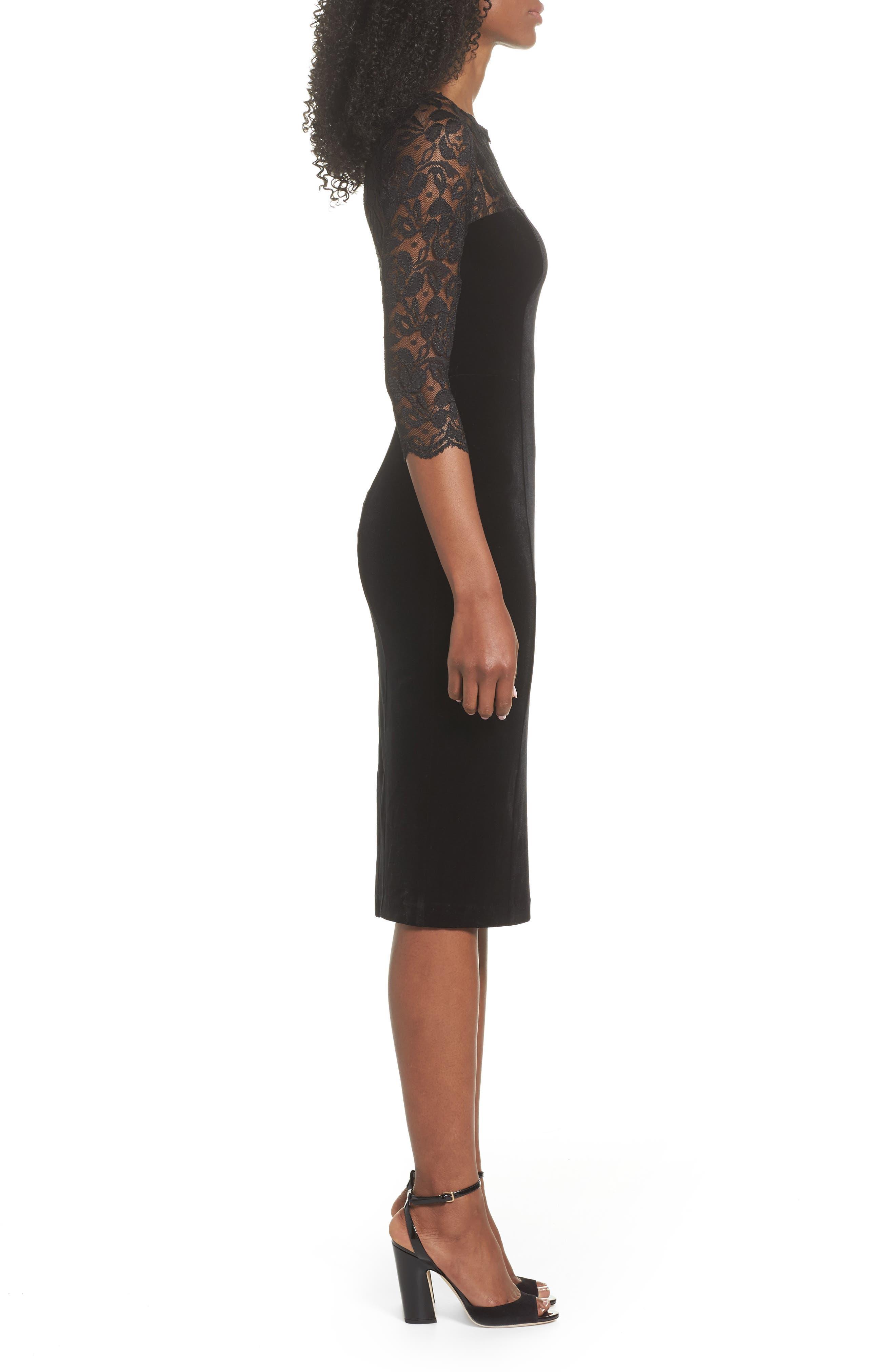 Lace & Velvet Sheath Dress,                             Alternate thumbnail 3, color,                             Black