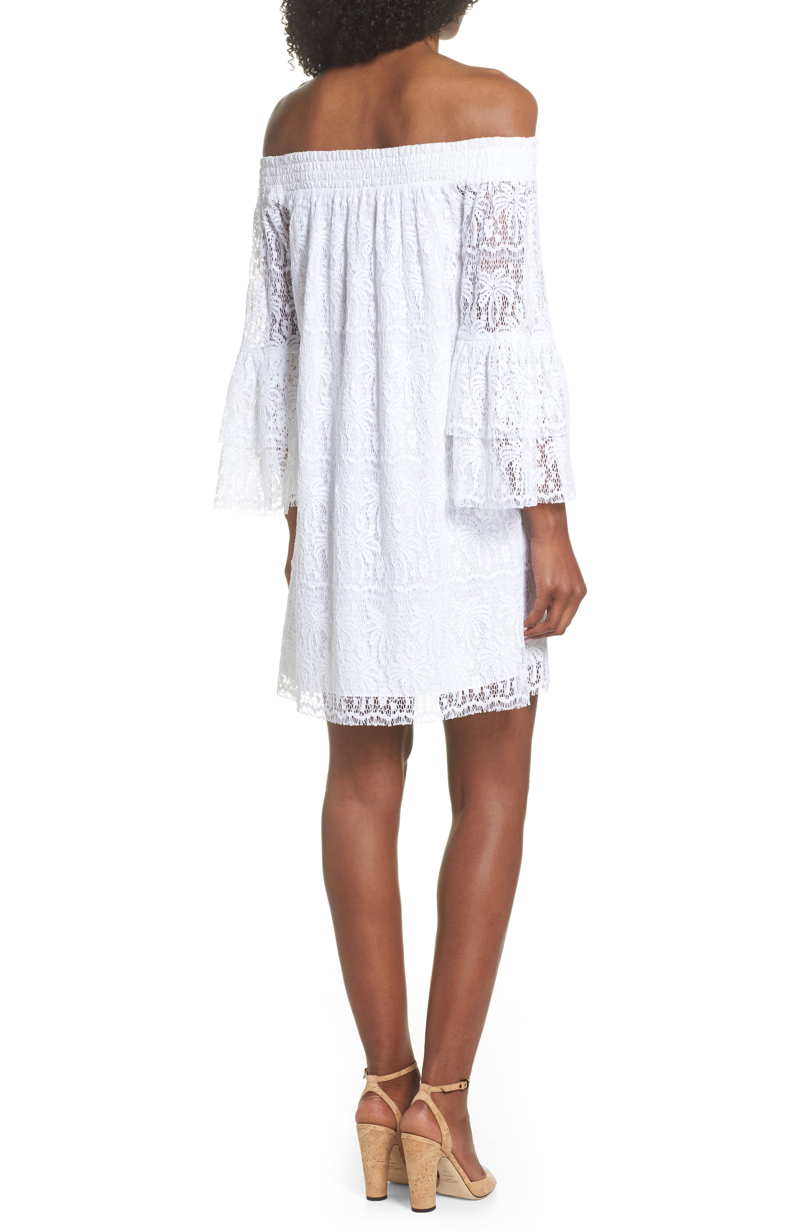 Tobyn Off the Shoulder Dres,                             Alternate thumbnail 2, color,                             Resort White Palm Tree Lace