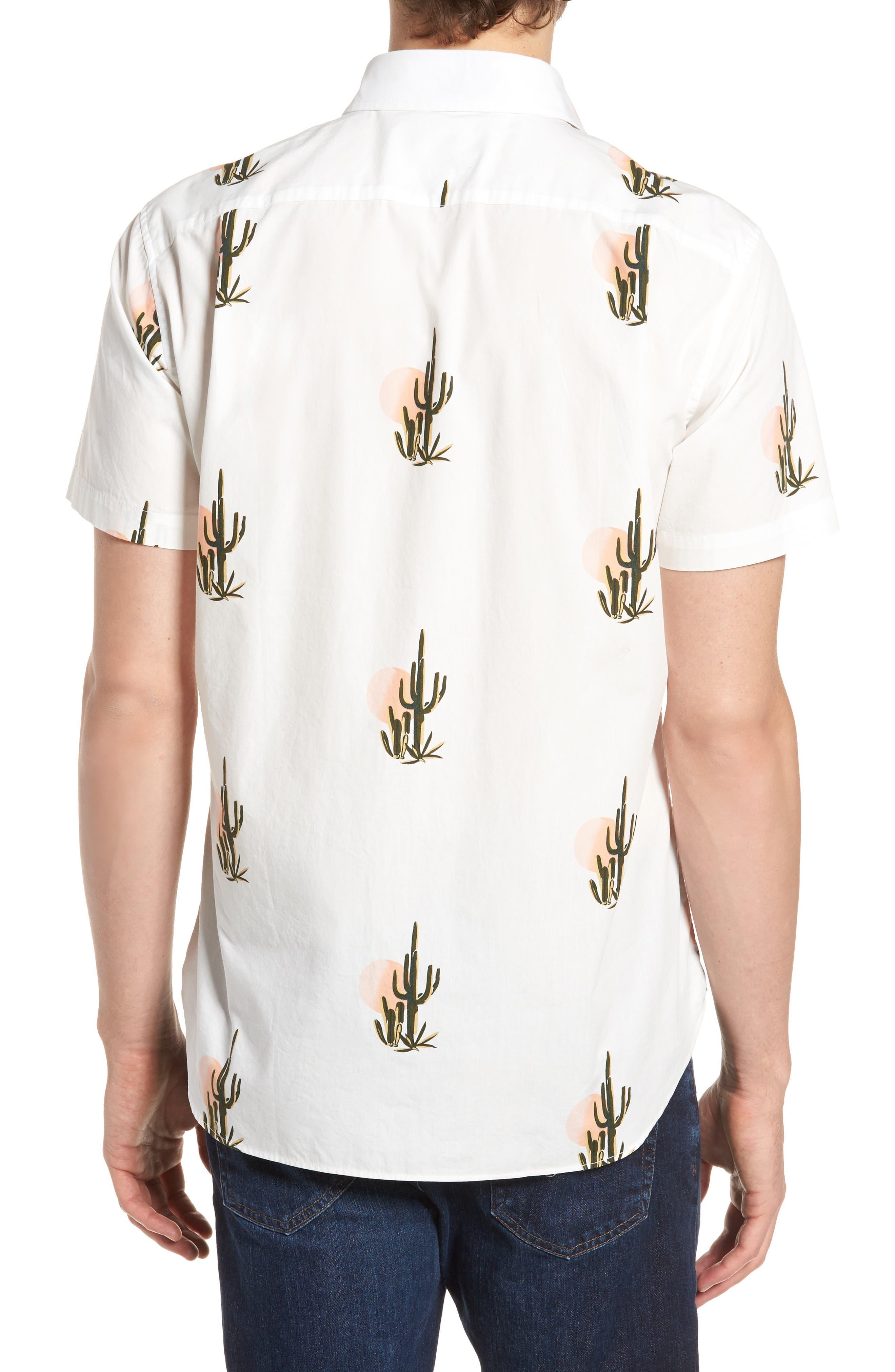 Slim Fit Print Short Sleeve Sport Shirt,                             Alternate thumbnail 3, color,                             Sunset Cacti - Sorbet