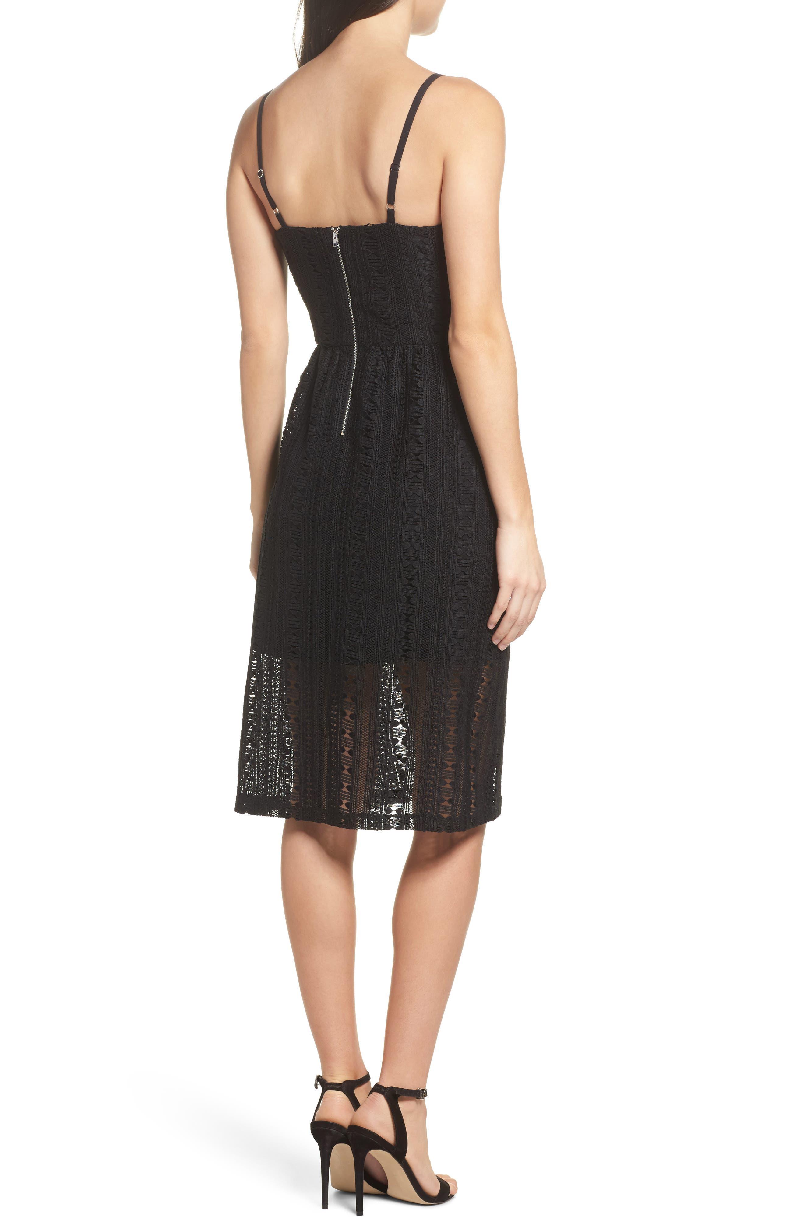 Belissimo Lace Fit & Flare Midi Dress,                             Alternate thumbnail 3, color,                             Black