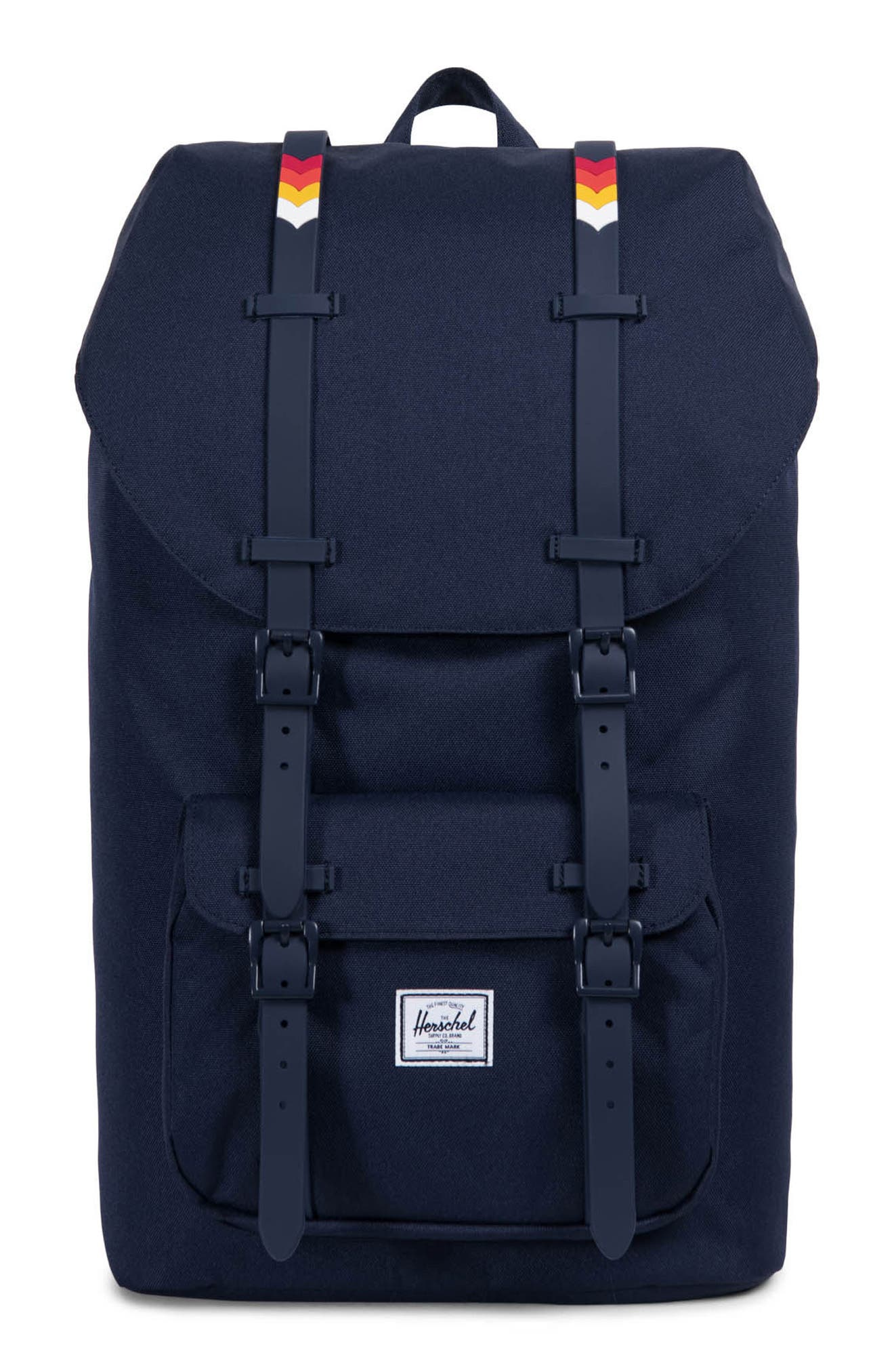 'Little America' Backpack,                         Main,                         color, Blue/ Rainbow Crosshatch