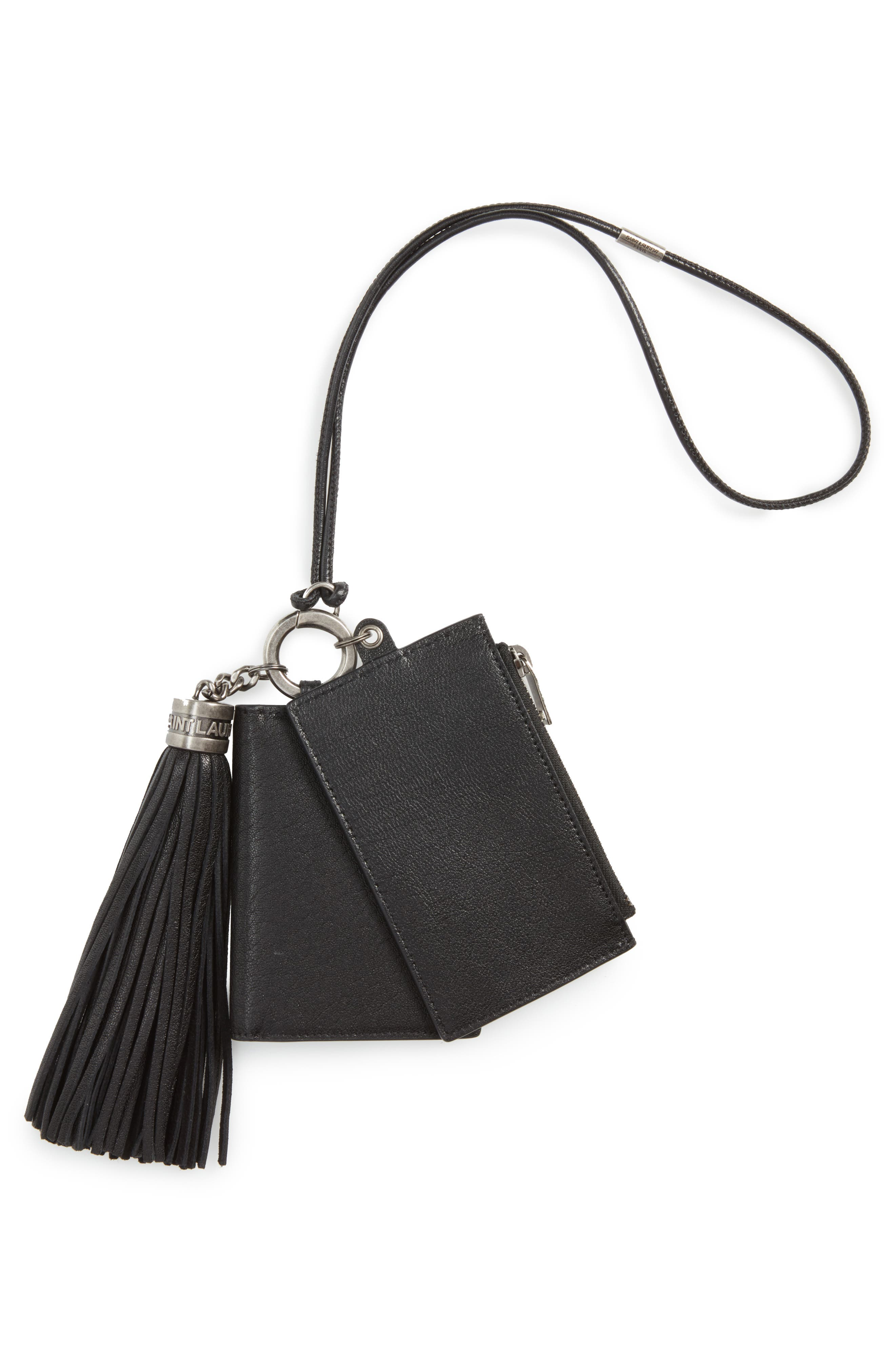 Leather Card Case, Coin Purse & Key Ring Set,                             Alternate thumbnail 2, color,                             Noir