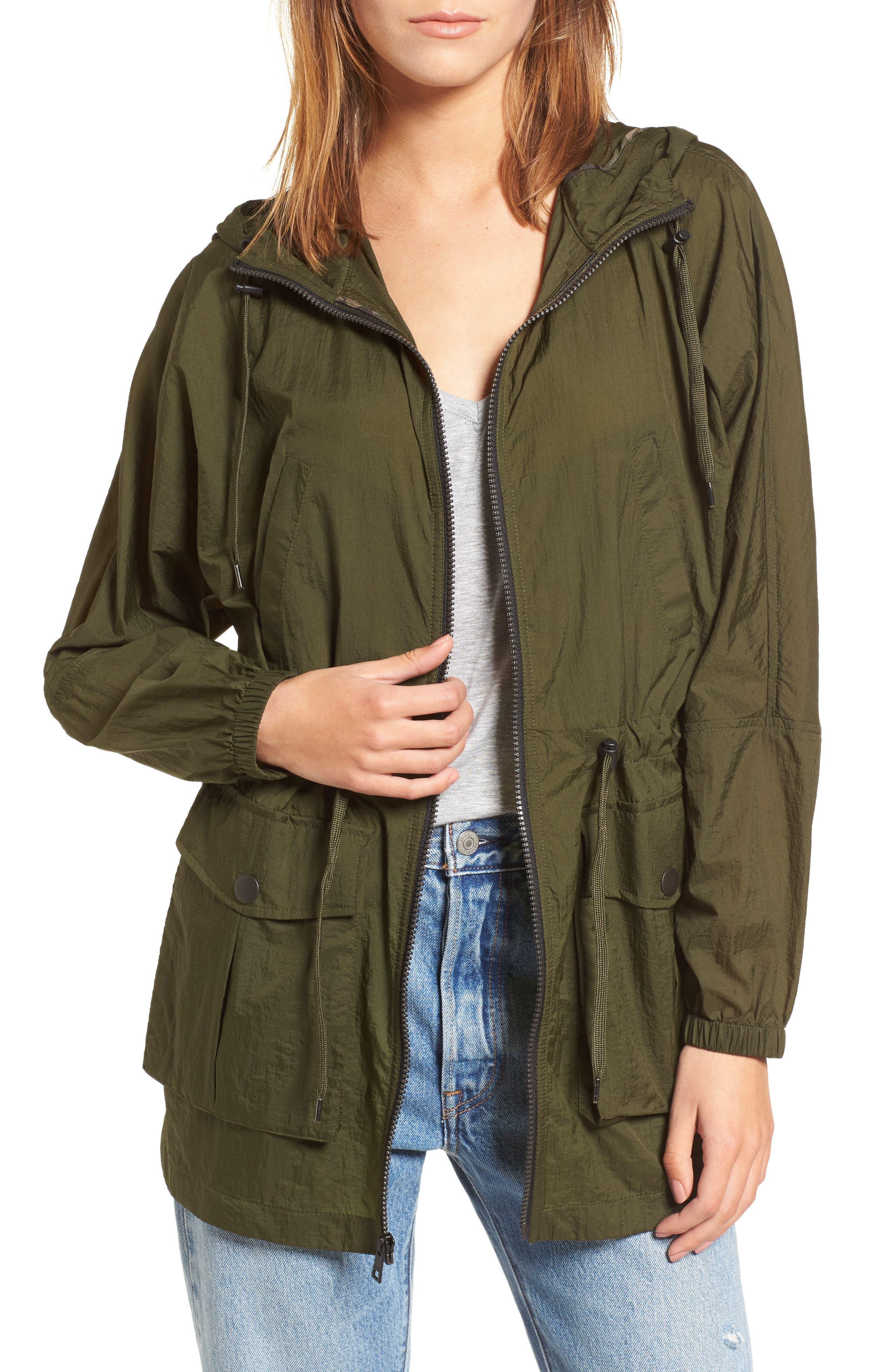 Hooded Windbreaker,                         Main,                         color, Green