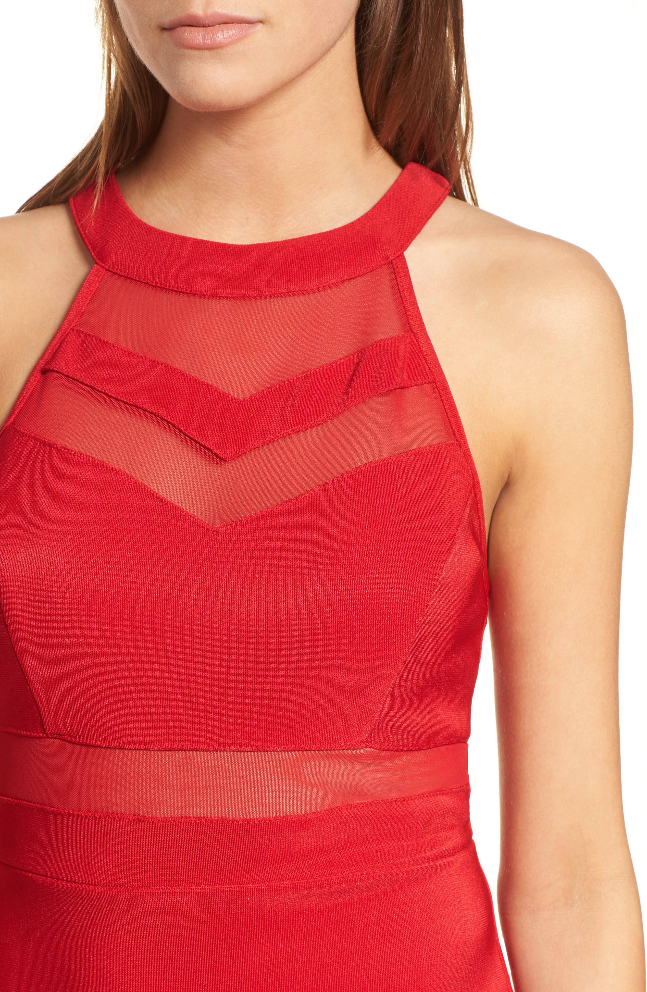 Illusion Body-Con Dress,                             Alternate thumbnail 4, color,                             Red