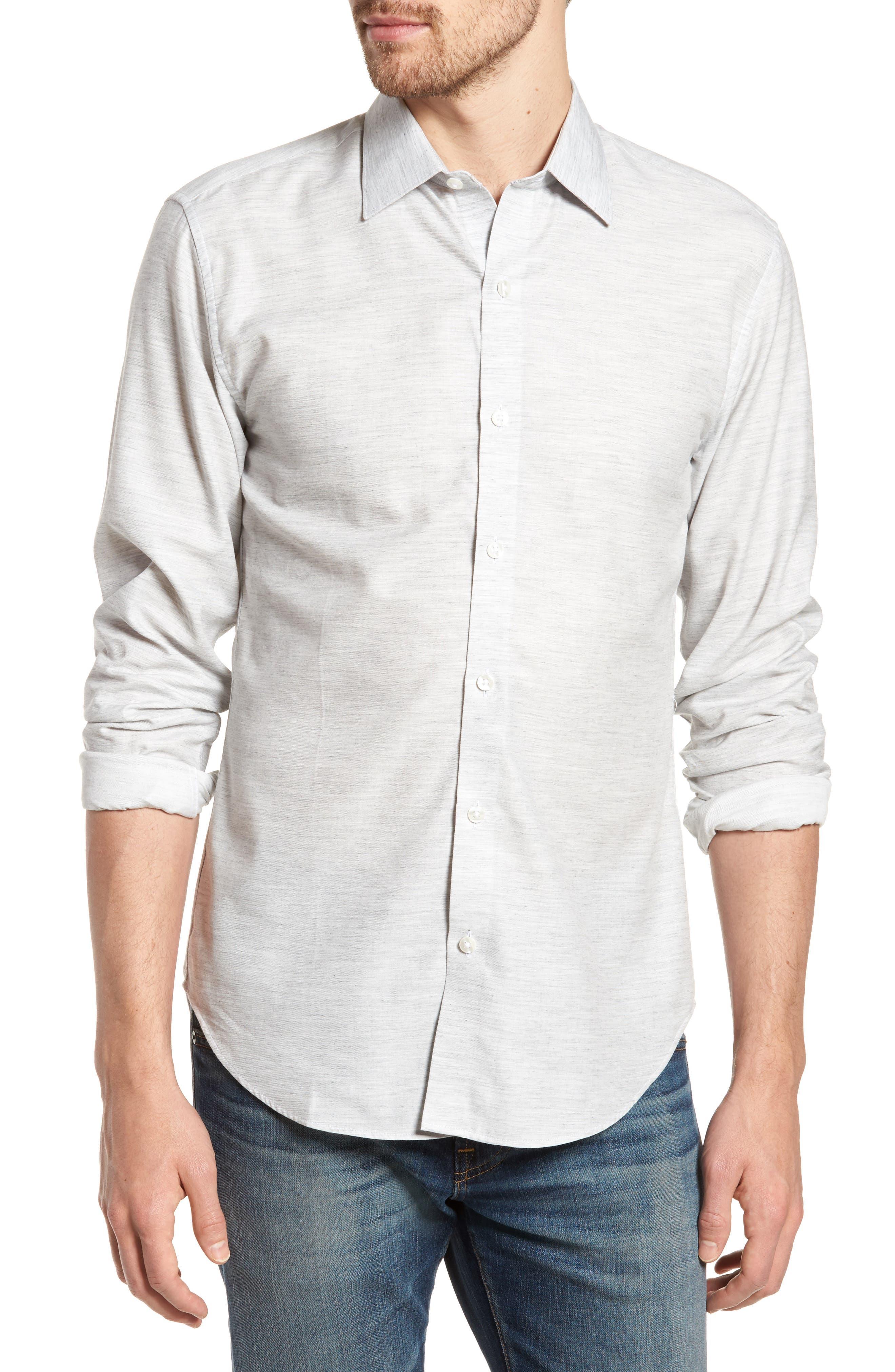 Unbutton Down 2.0 Slim Fit Sport Shirt,                         Main,                         color, Solid - Light Grey Heather