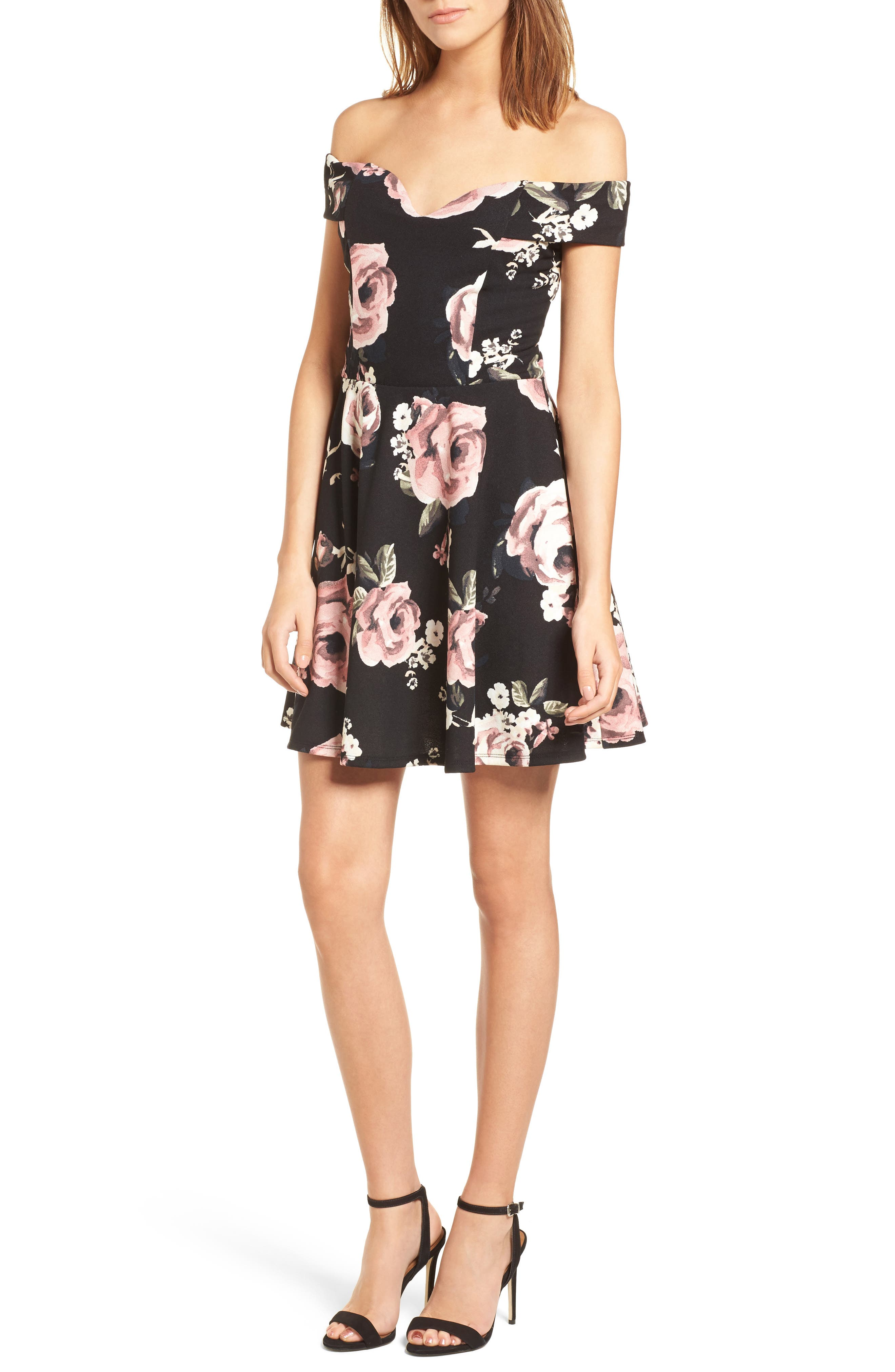 Off the Shoulder Fit & Flare Dress,                             Main thumbnail 1, color,                             Black/ Blush