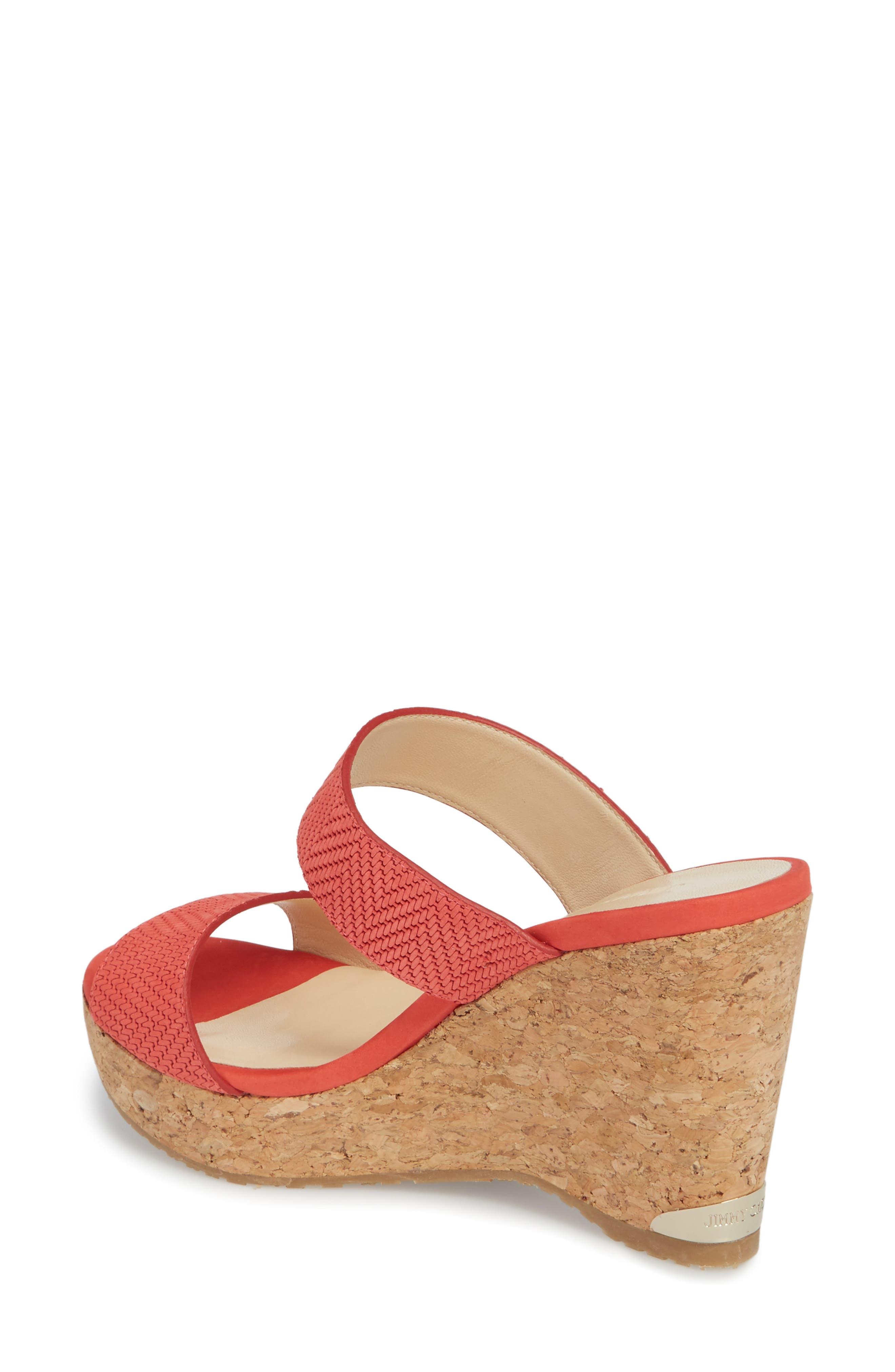 Parker Wedge Slide Sandal,                             Alternate thumbnail 2, color,                             Flamingo Red