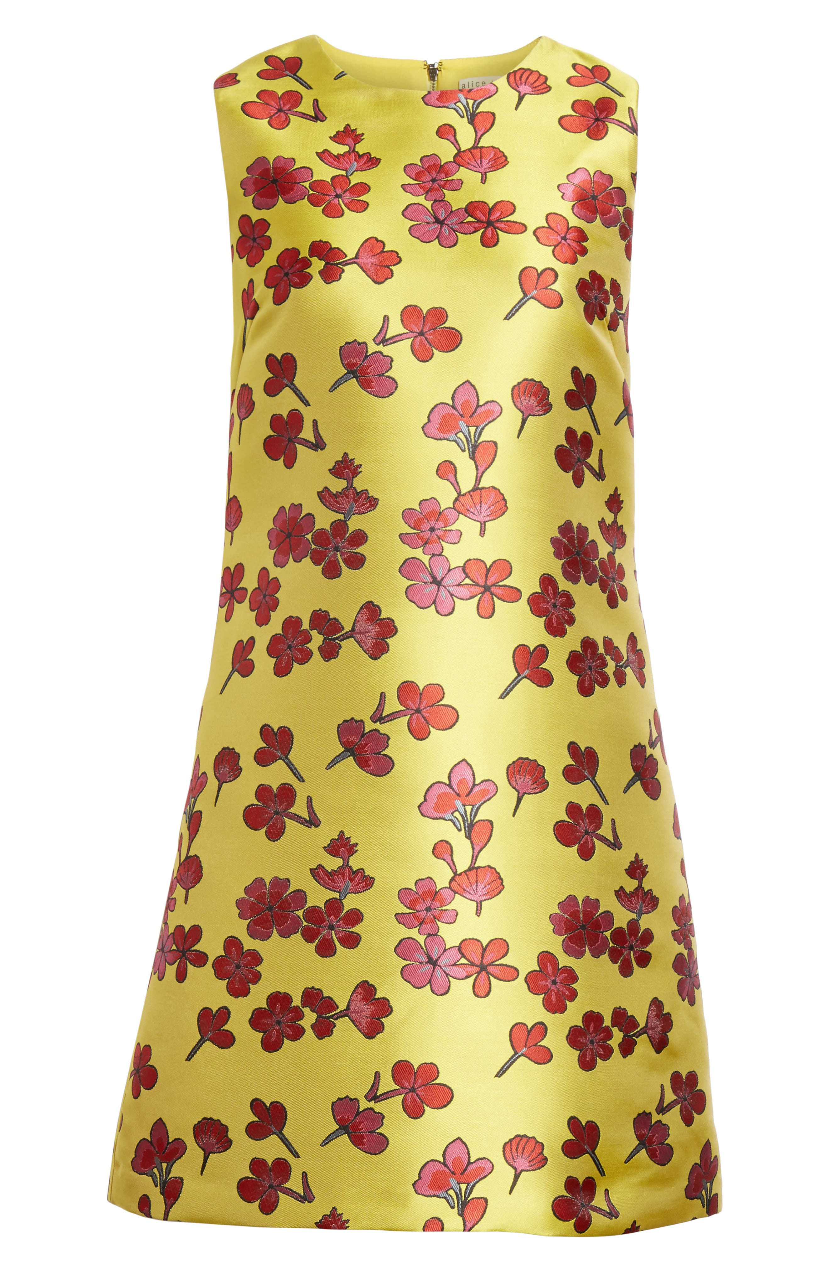 Coley Floral A-Line Shift Dress,                             Alternate thumbnail 6, color,                             Sunflower/ Poppy