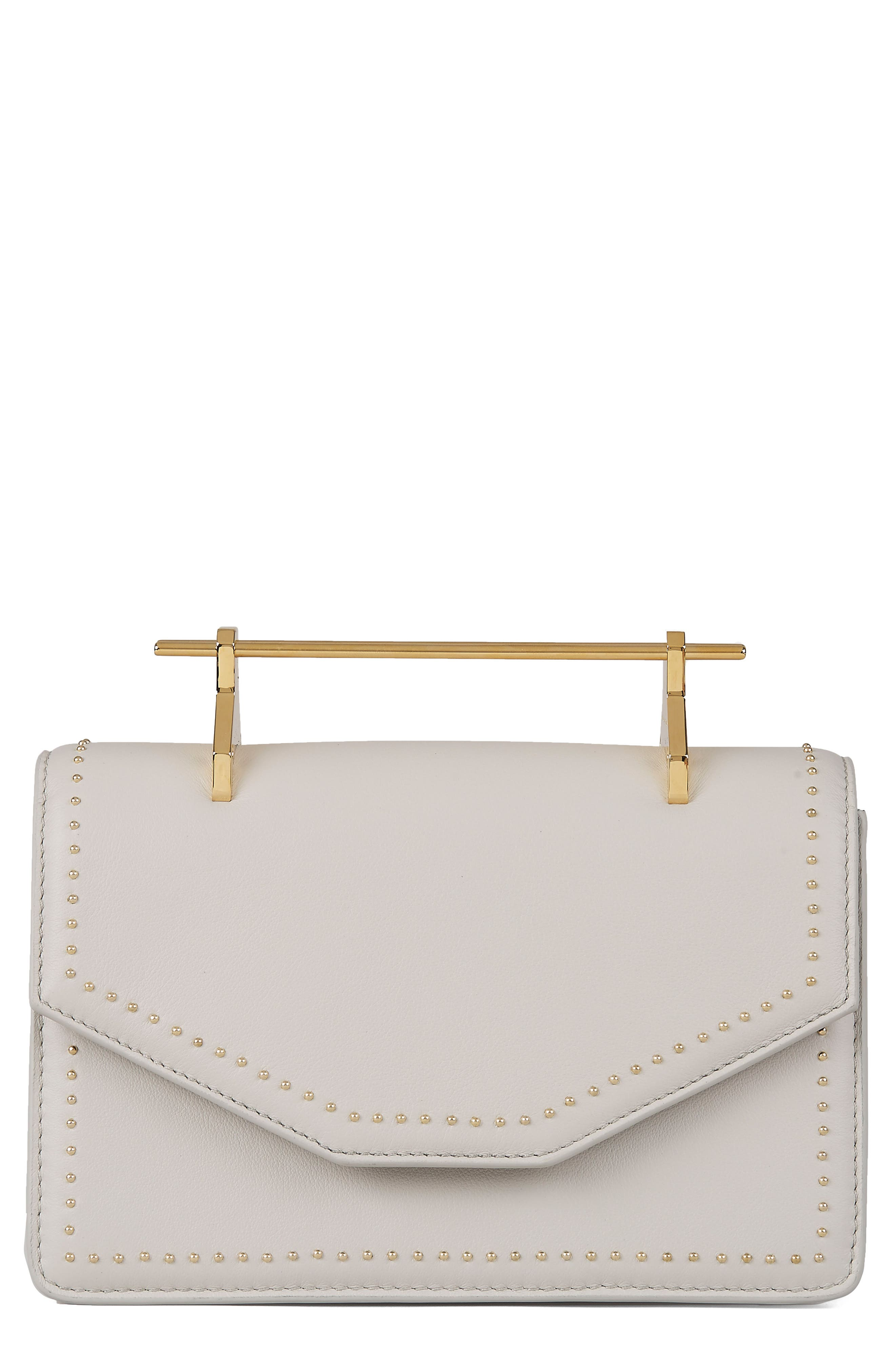 Indre Leather Shoulder Bag,                             Main thumbnail 1, color,                             Studded Cool Grey/ Gold