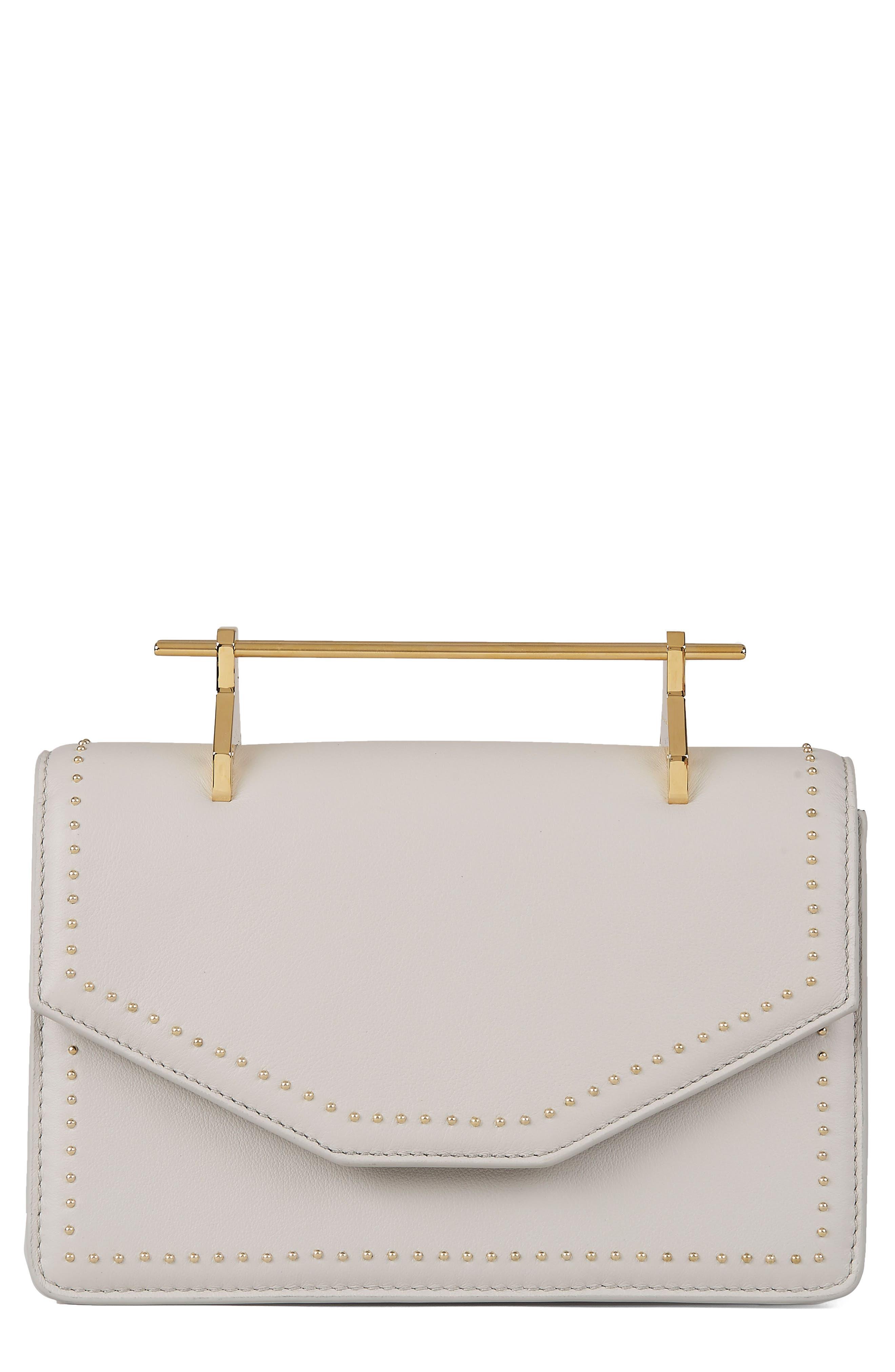 Indre Leather Shoulder Bag,                         Main,                         color, Studded Cool Grey/ Gold