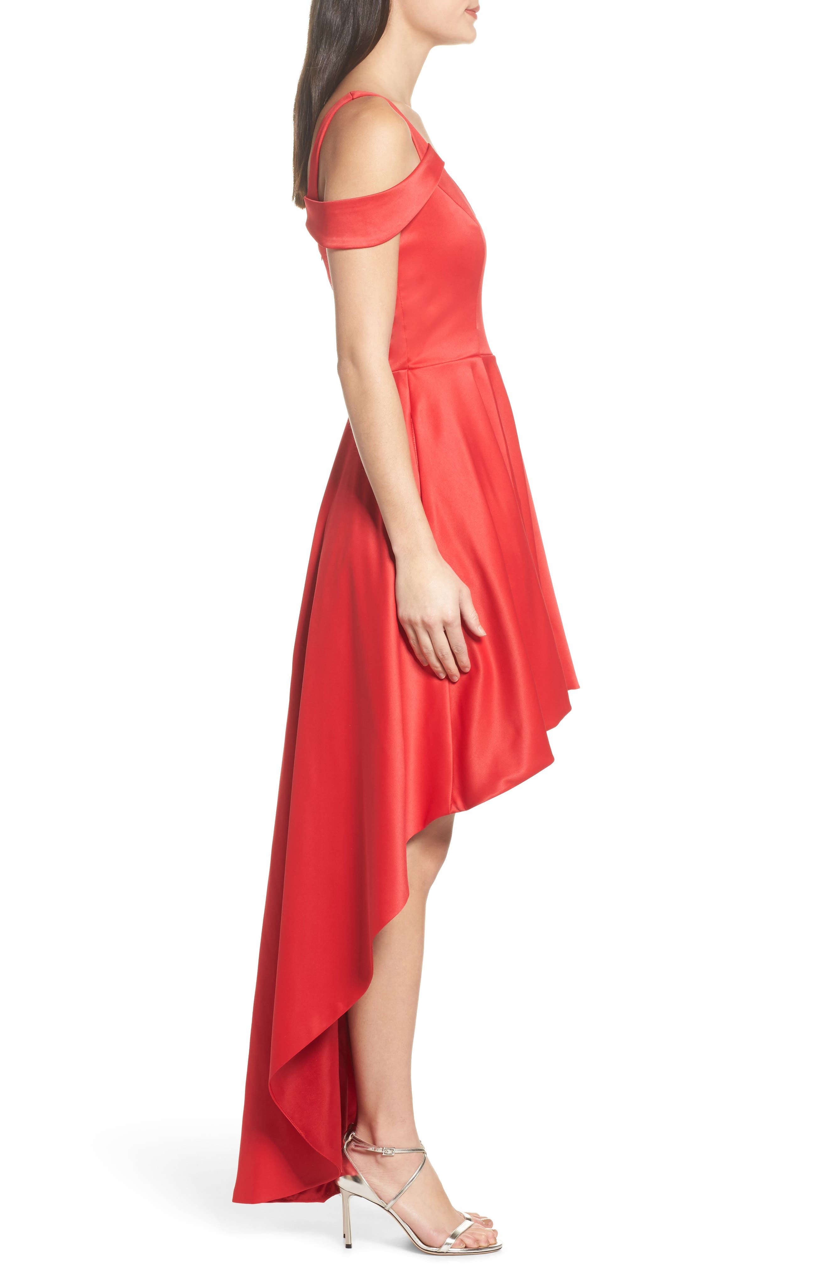 Cold Shoulder High/Low Gown,                             Alternate thumbnail 3, color,                             Red