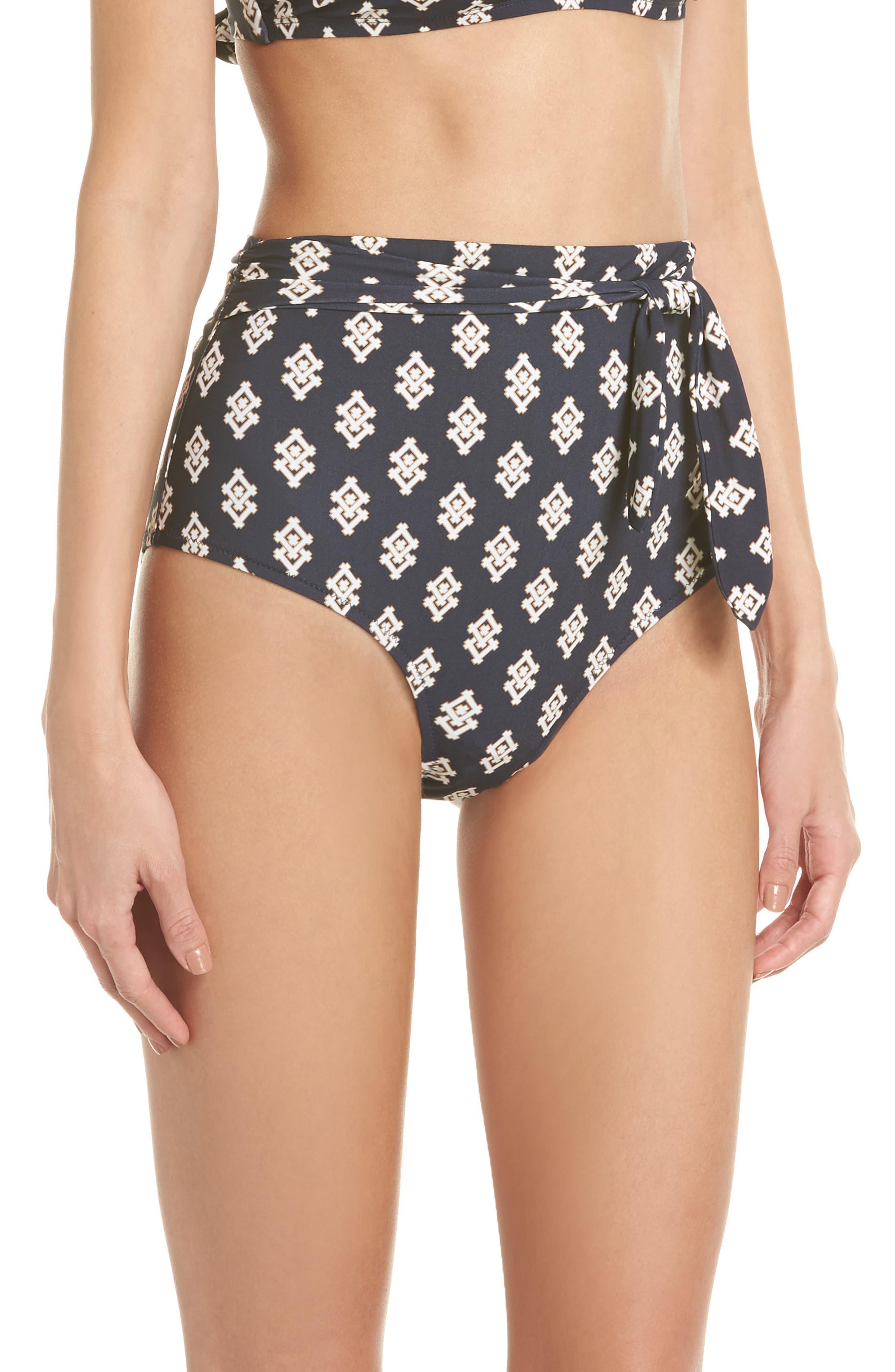 Sash Tie High Waist Bikini Bottoms,                             Alternate thumbnail 3, color,                             Tory Navy Double Diamonds
