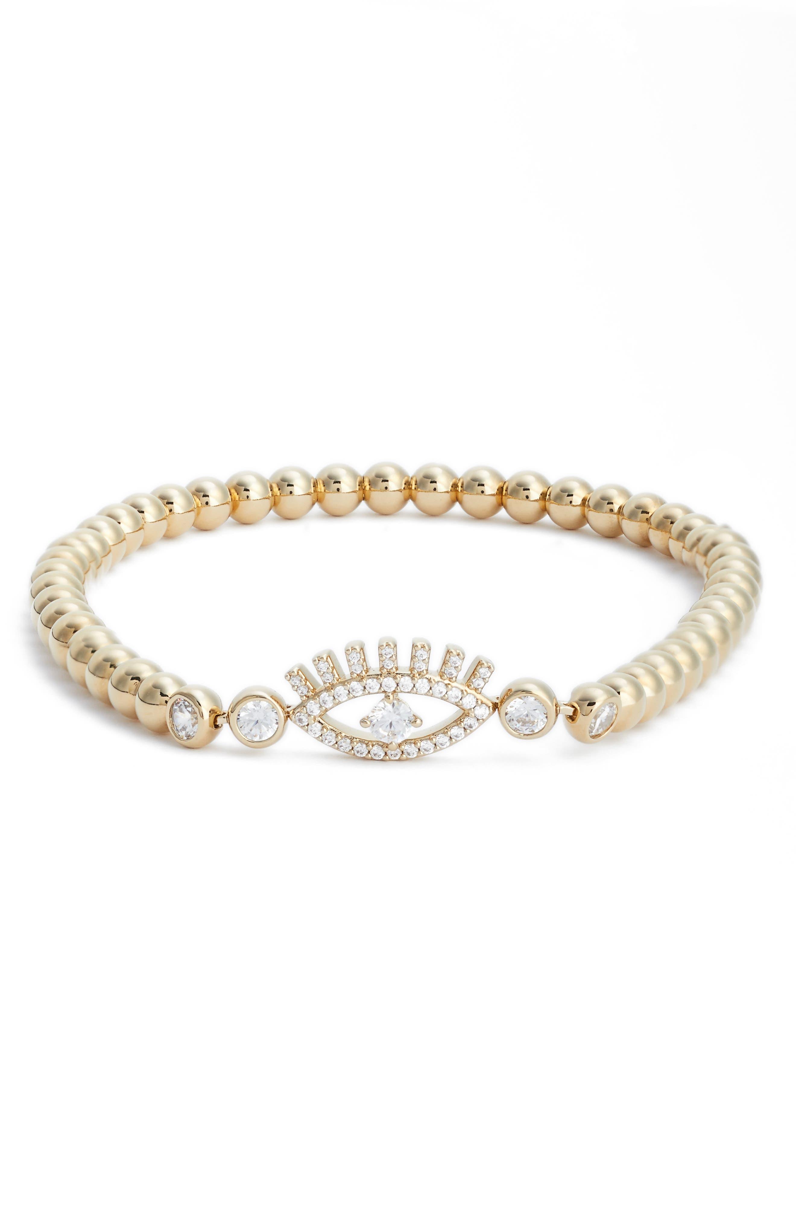 Amulet Cubic Zirconia Bracelet,                         Main,                         color, Gold/ Clear