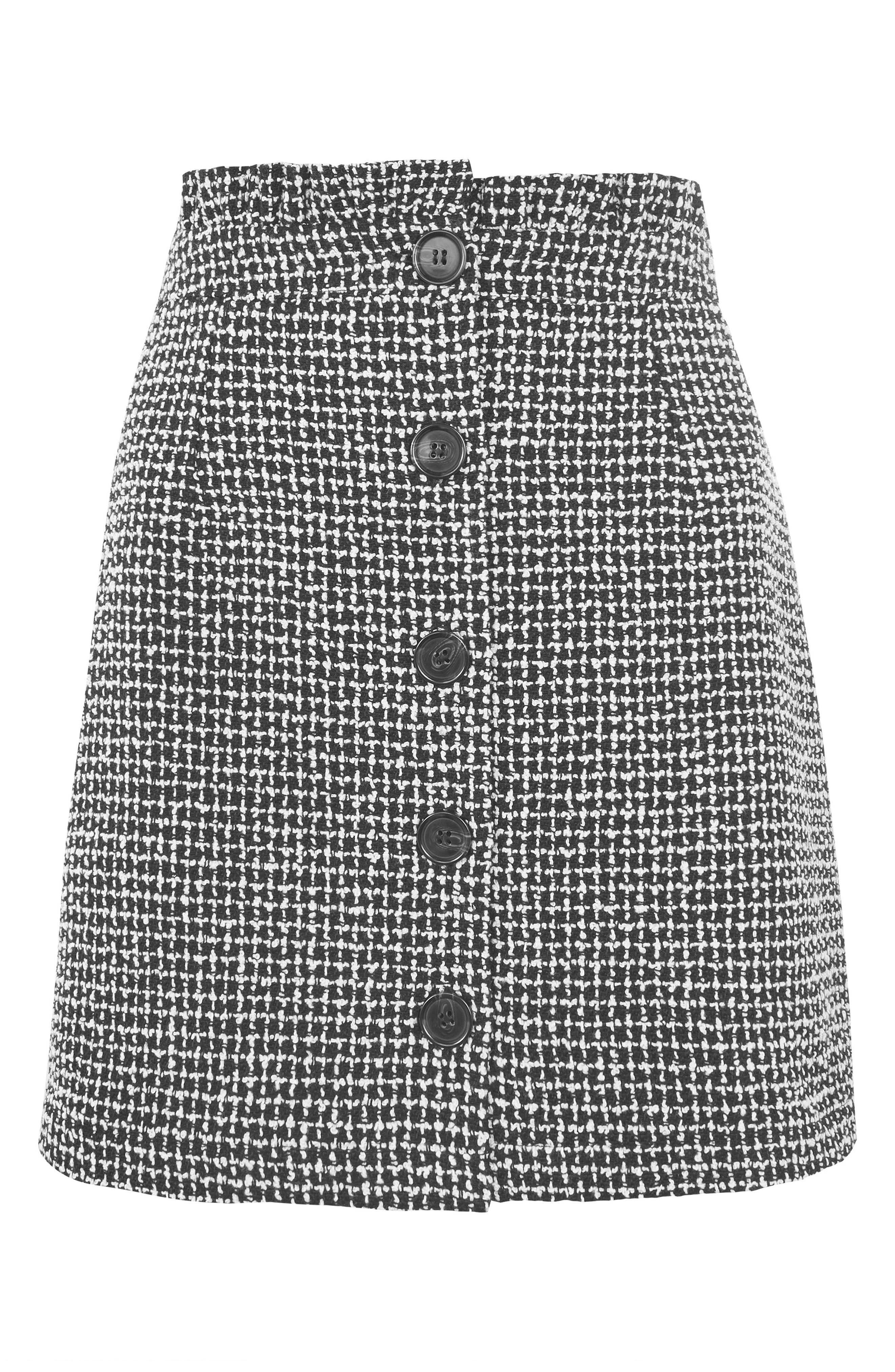 Frill Waist Bouclé Skirt,                             Alternate thumbnail 3, color,                             Black Multi