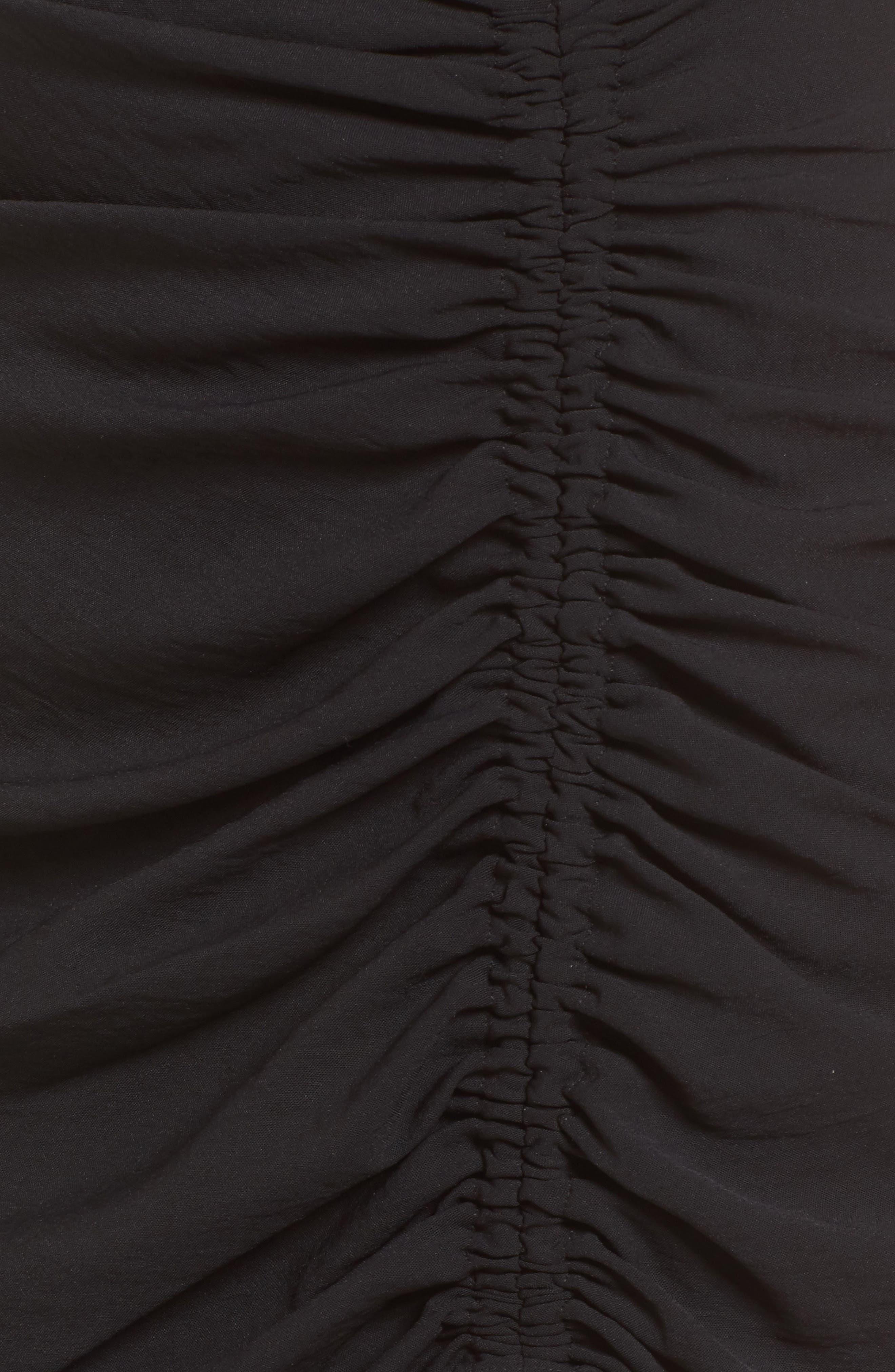 Cinch Hem Miniskirt,                             Alternate thumbnail 5, color,                             Black