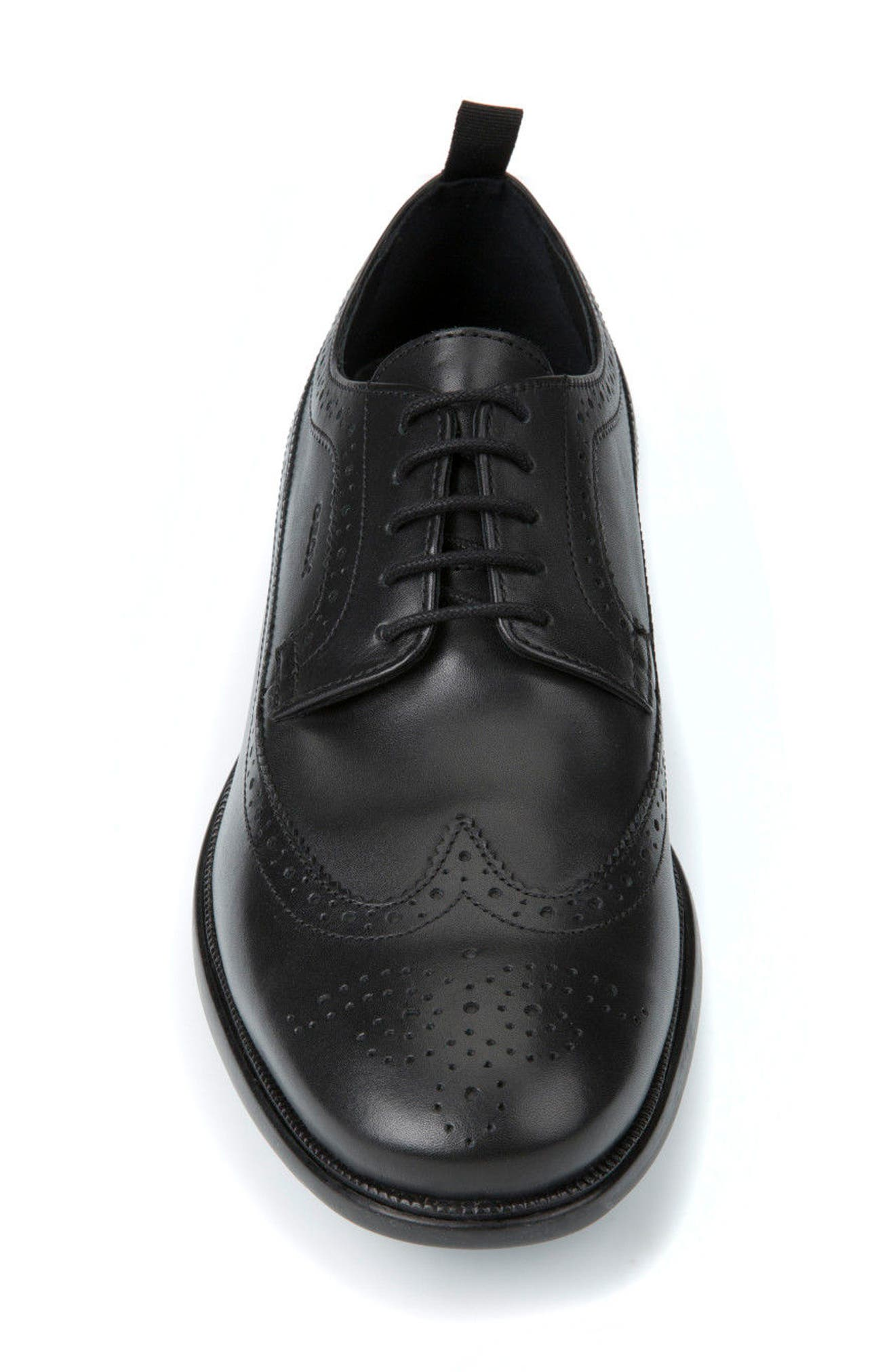 Winfred 3 Wingtip,                             Alternate thumbnail 4, color,                             Black Leather