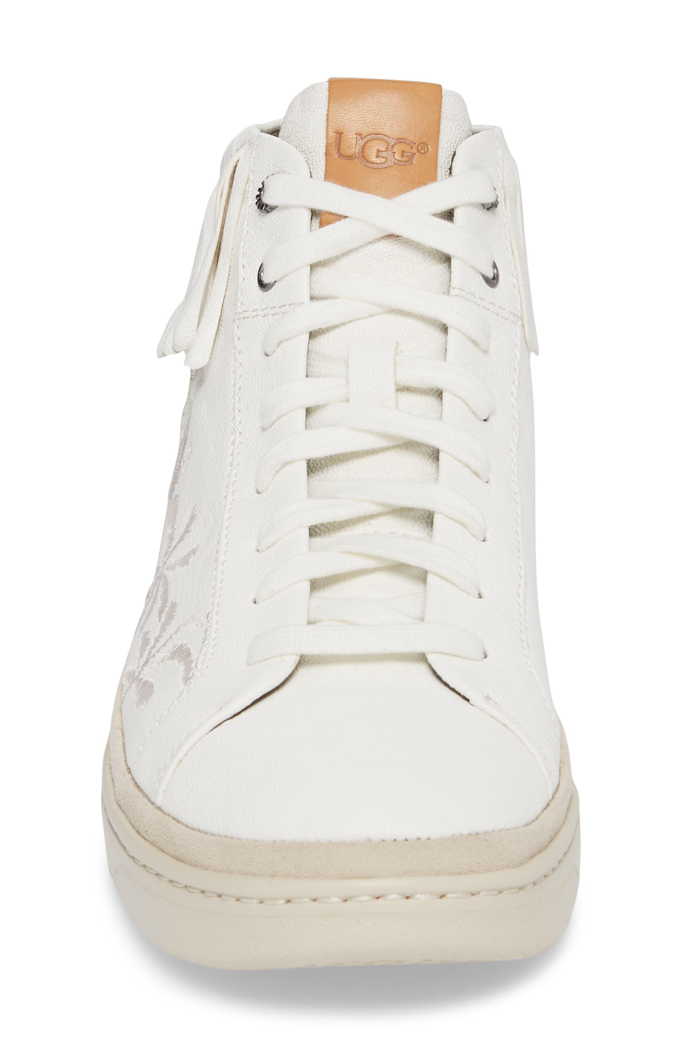 Cali Fringe High Top Sneaker,                             Alternate thumbnail 4, color,                             White Leather
