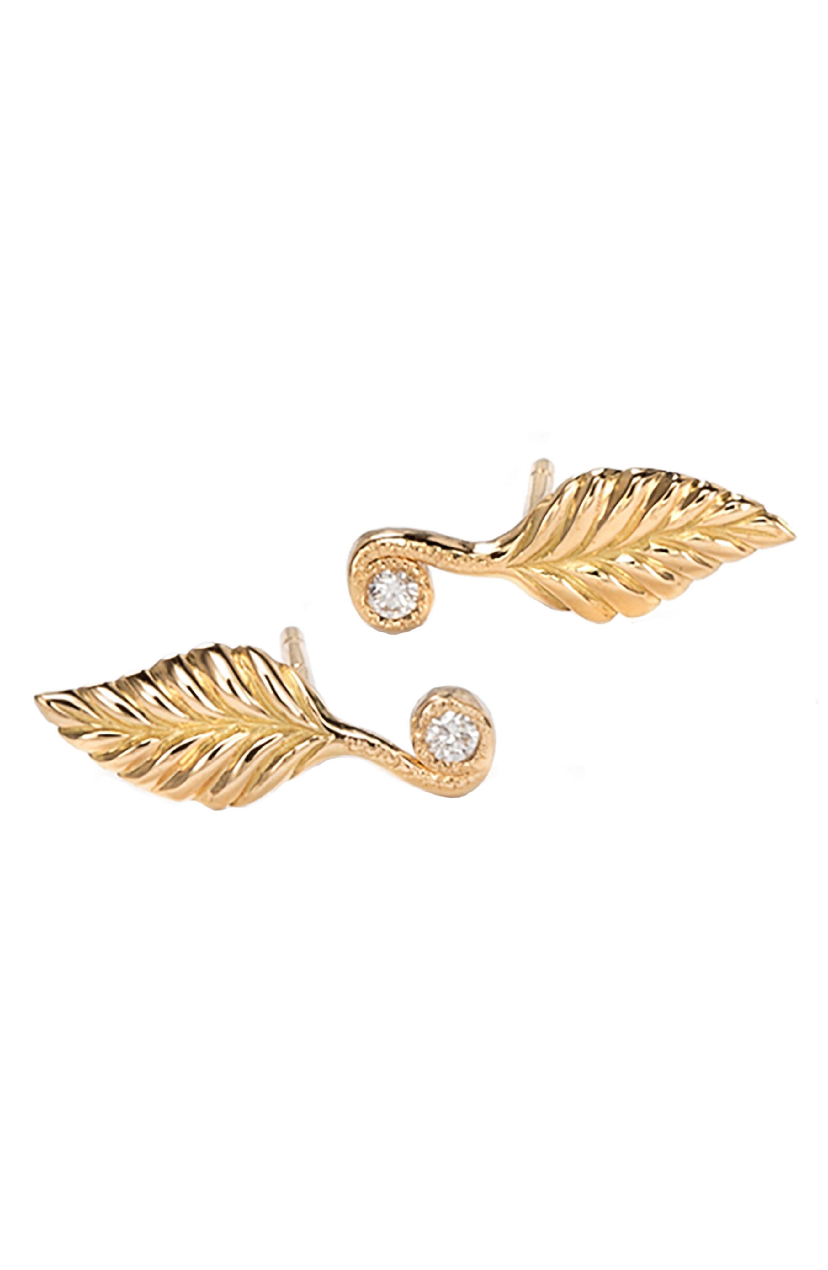 Diamond Rose Leaf Stud Earrlings,                             Main thumbnail 1, color,                             Yellow Gold