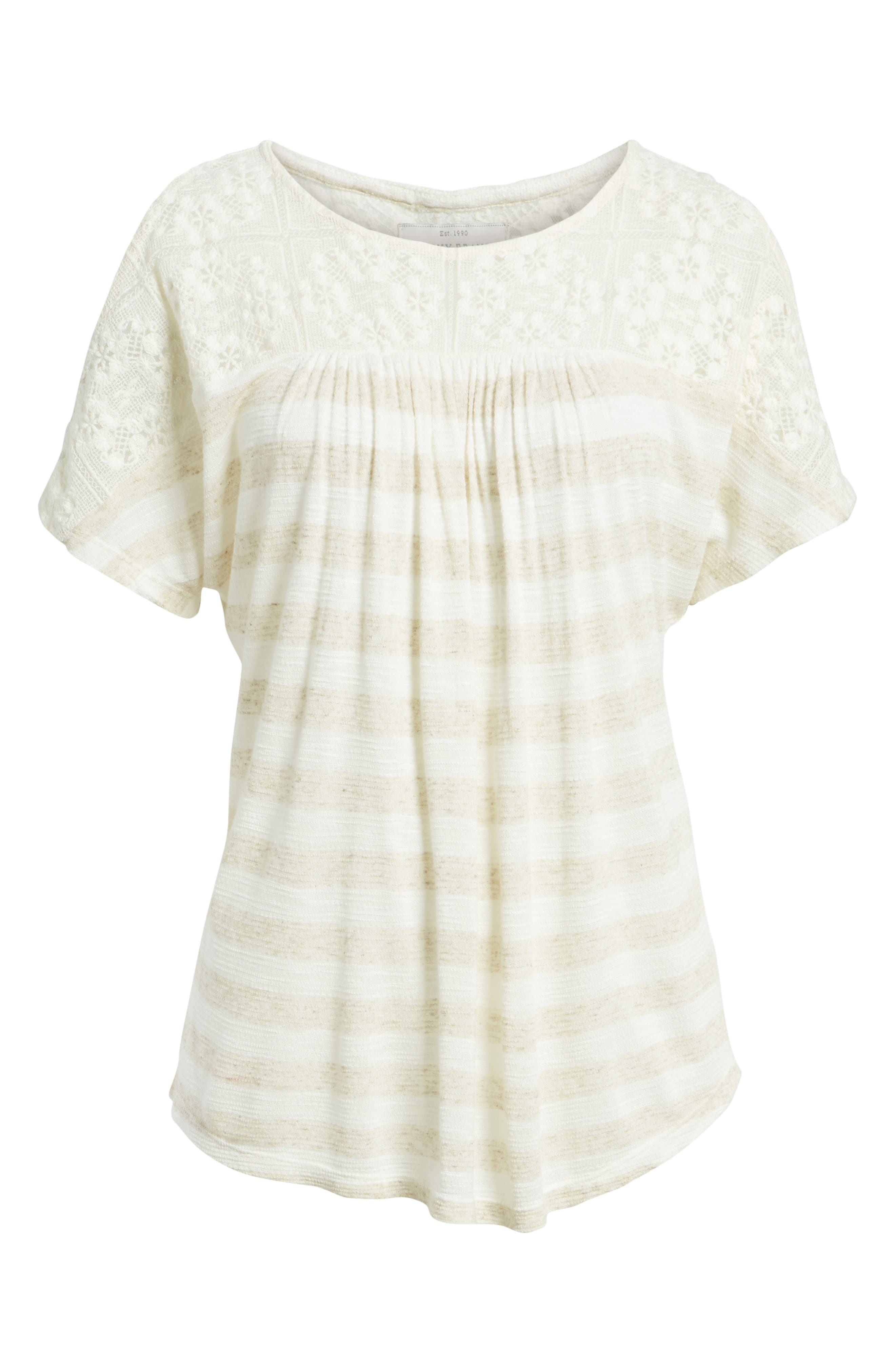 Lace Cold Shoulder Shirt,                             Alternate thumbnail 6, color,                             Oatmeal Stripe