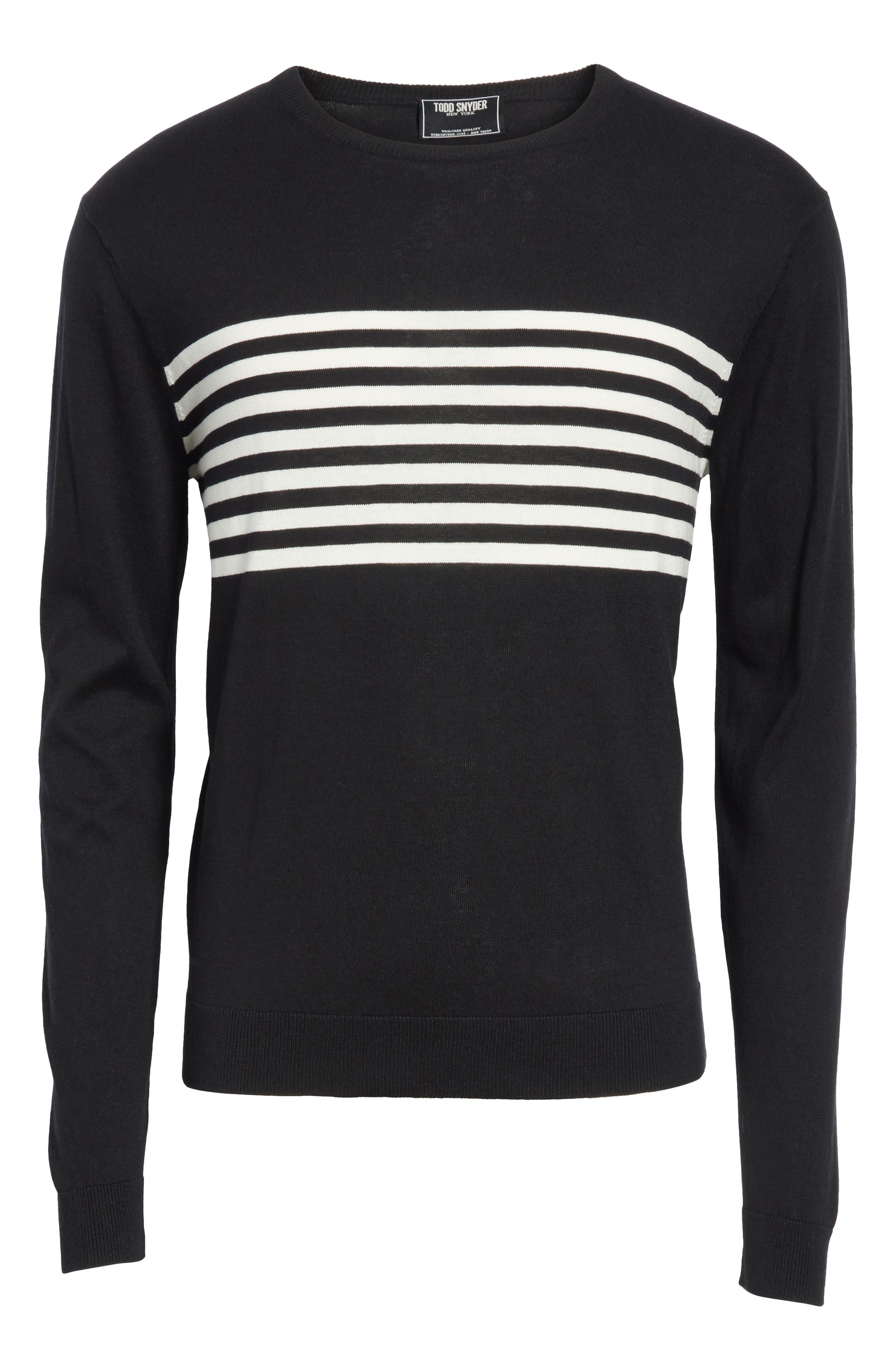Stripe Silk & Cotton Sweater,                             Alternate thumbnail 6, color,                             Black