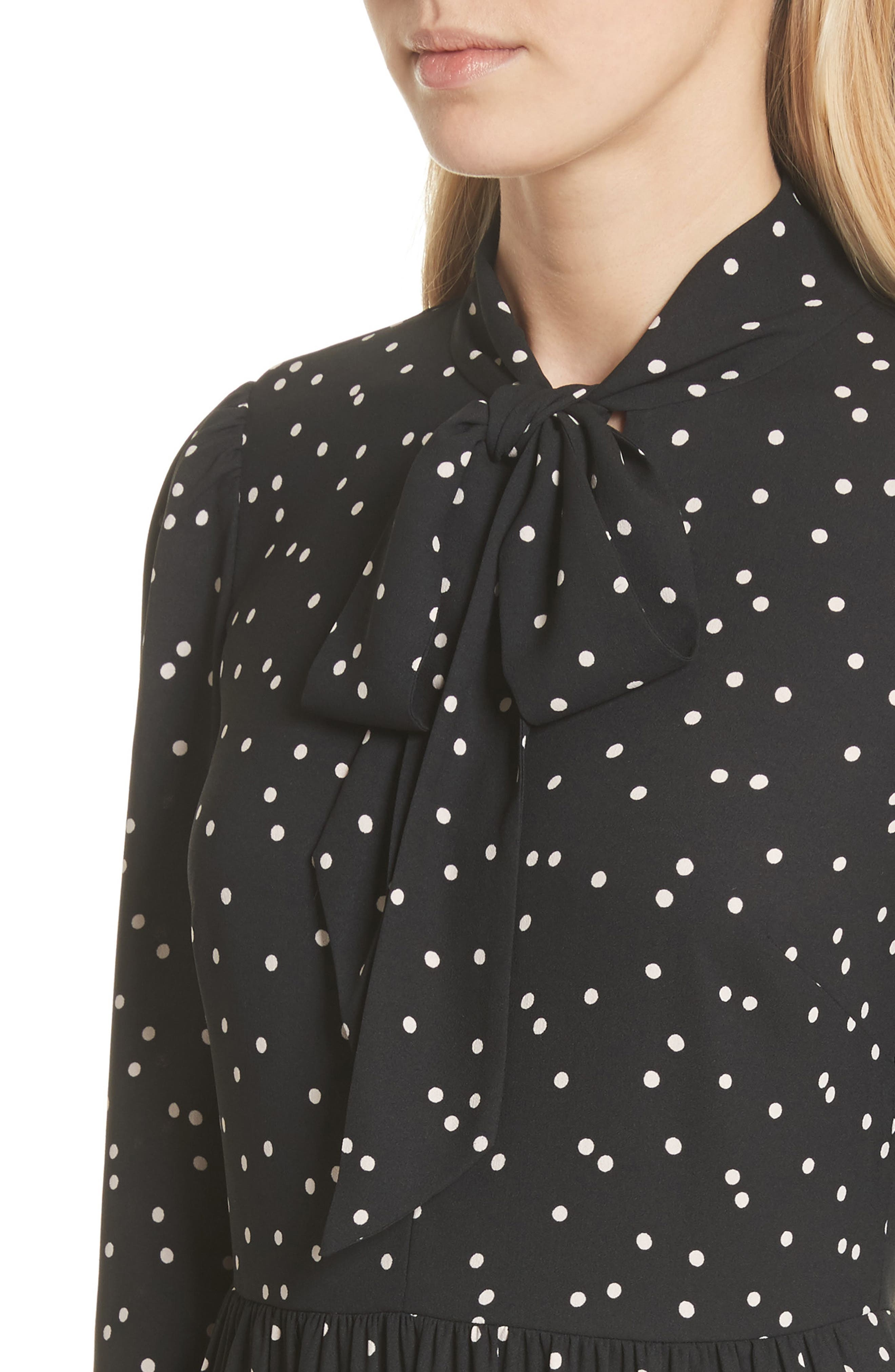 scatter dot shirtdress,                             Alternate thumbnail 4, color,                             Black