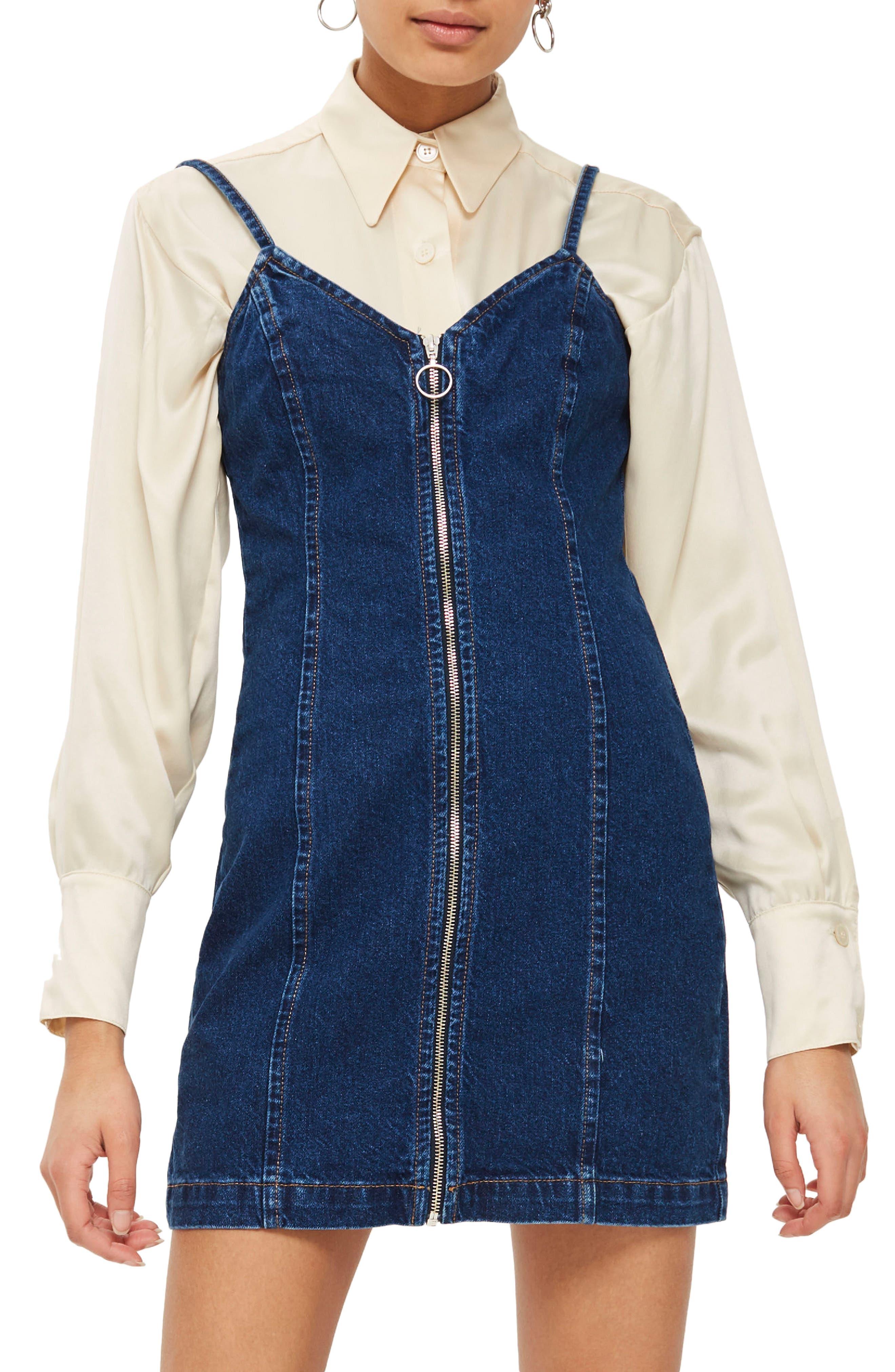 Zip Through Denim Body-Con Dress,                         Main,                         color, Mid Denim