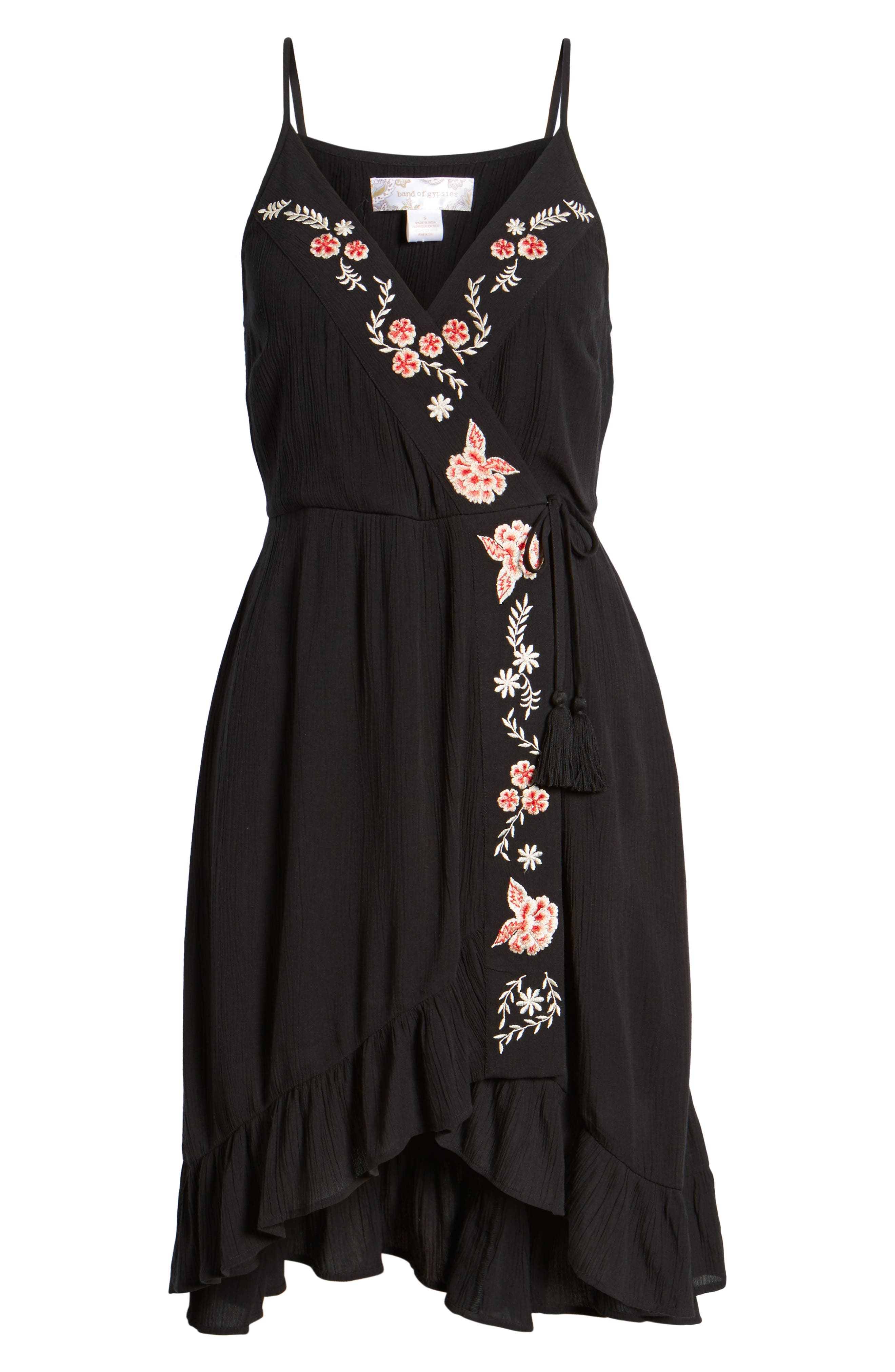 Floral Embroidered Faux Wrap Dress,                             Alternate thumbnail 6, color,                             Black/ Red