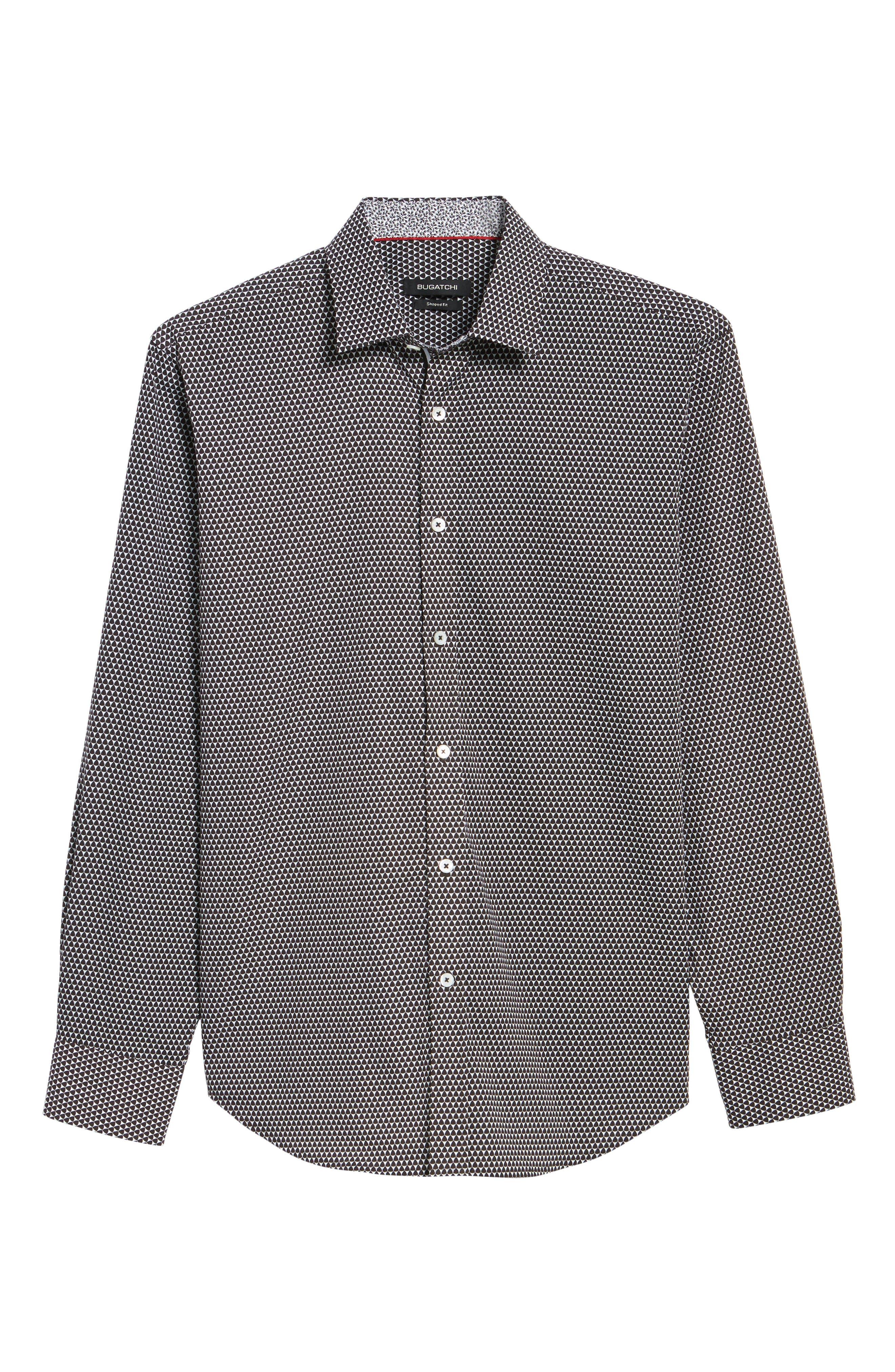 Slim Fit Geo Print Sport Shirt,                             Alternate thumbnail 6, color,                             Black