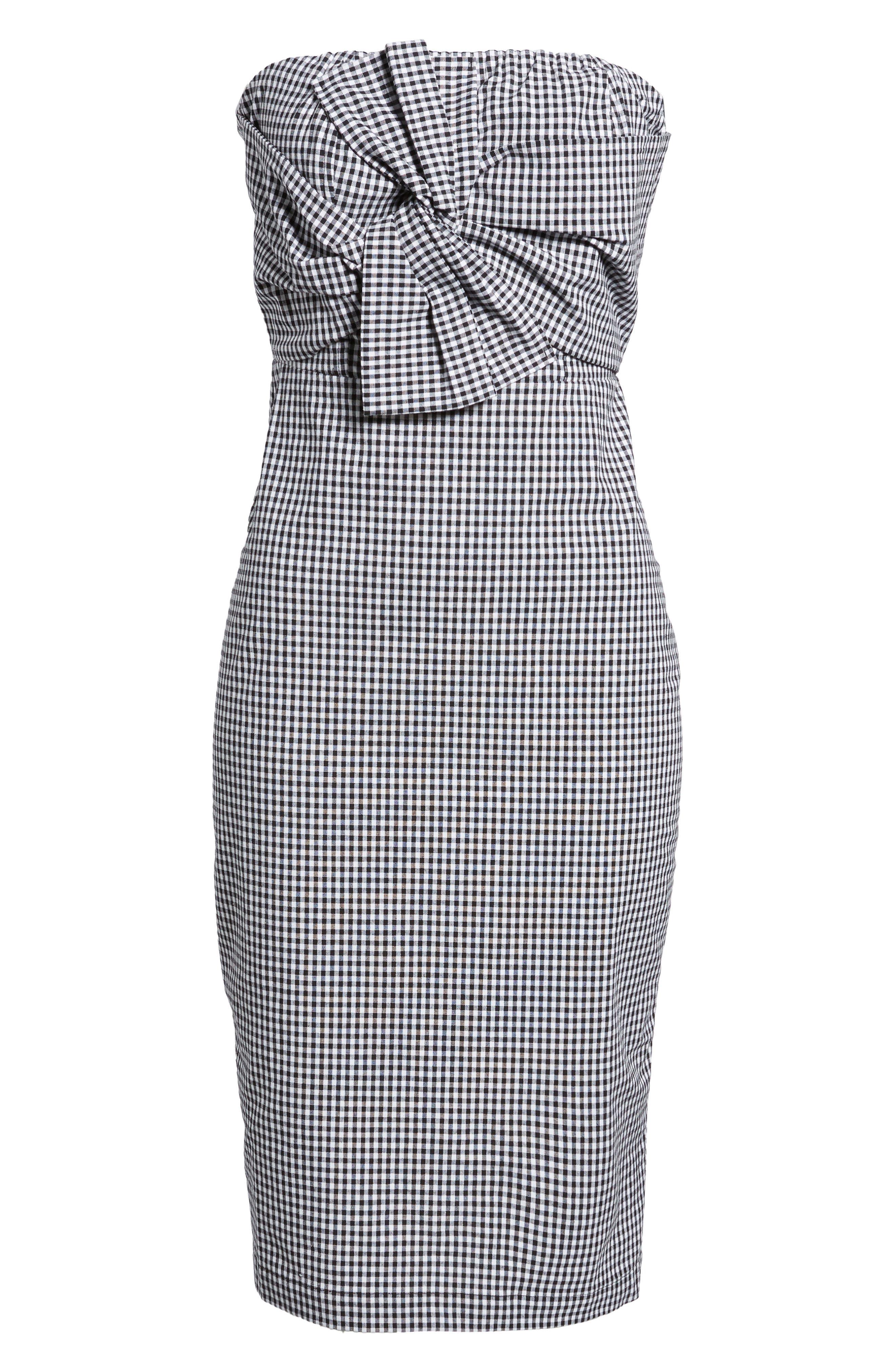 Strapless Gingham Dress,                             Alternate thumbnail 6, color,                             Black Gingham Stripe