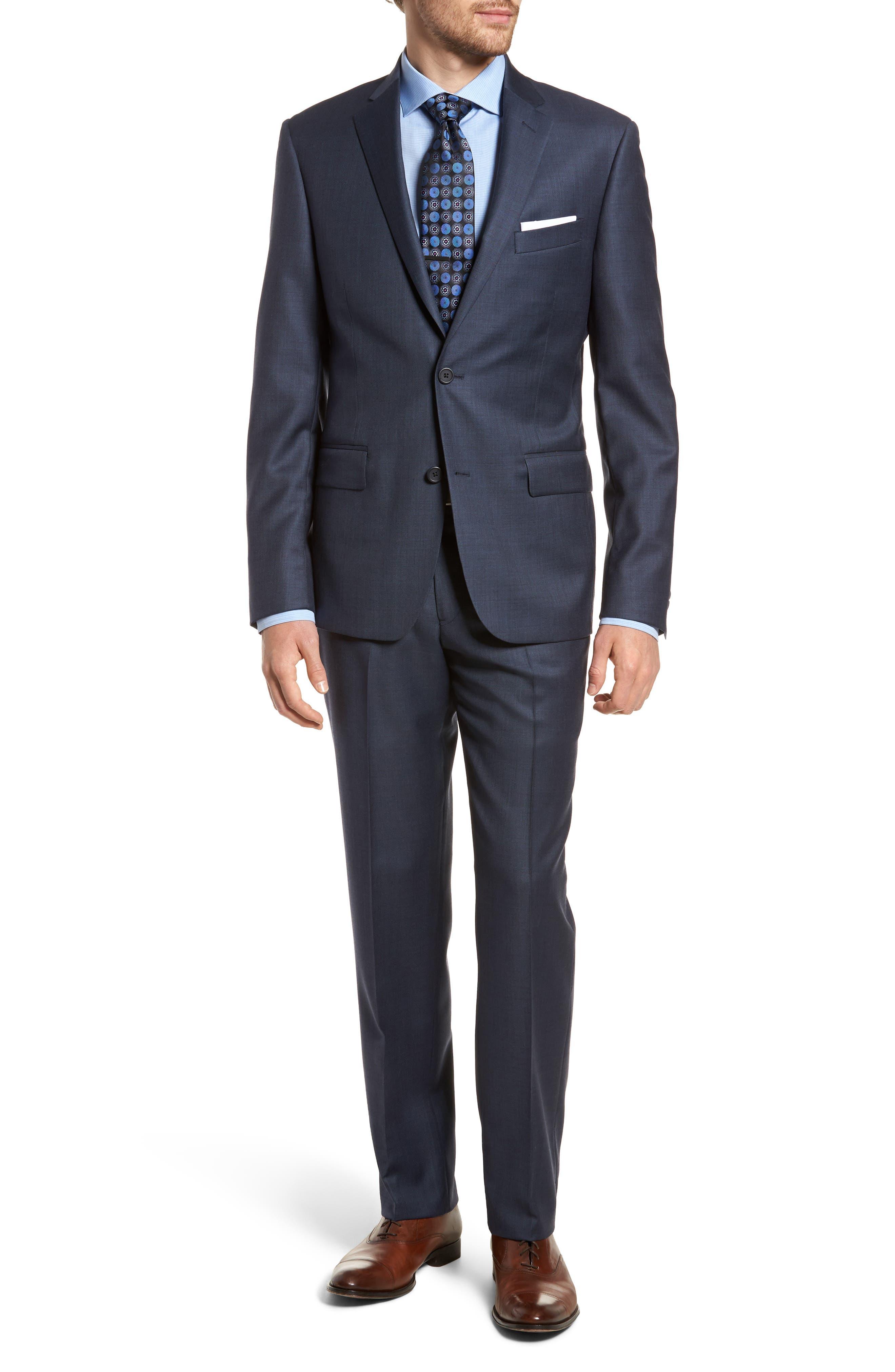 Nordstrom Men's Shop Trim Fit Sharkskin Wool Suit