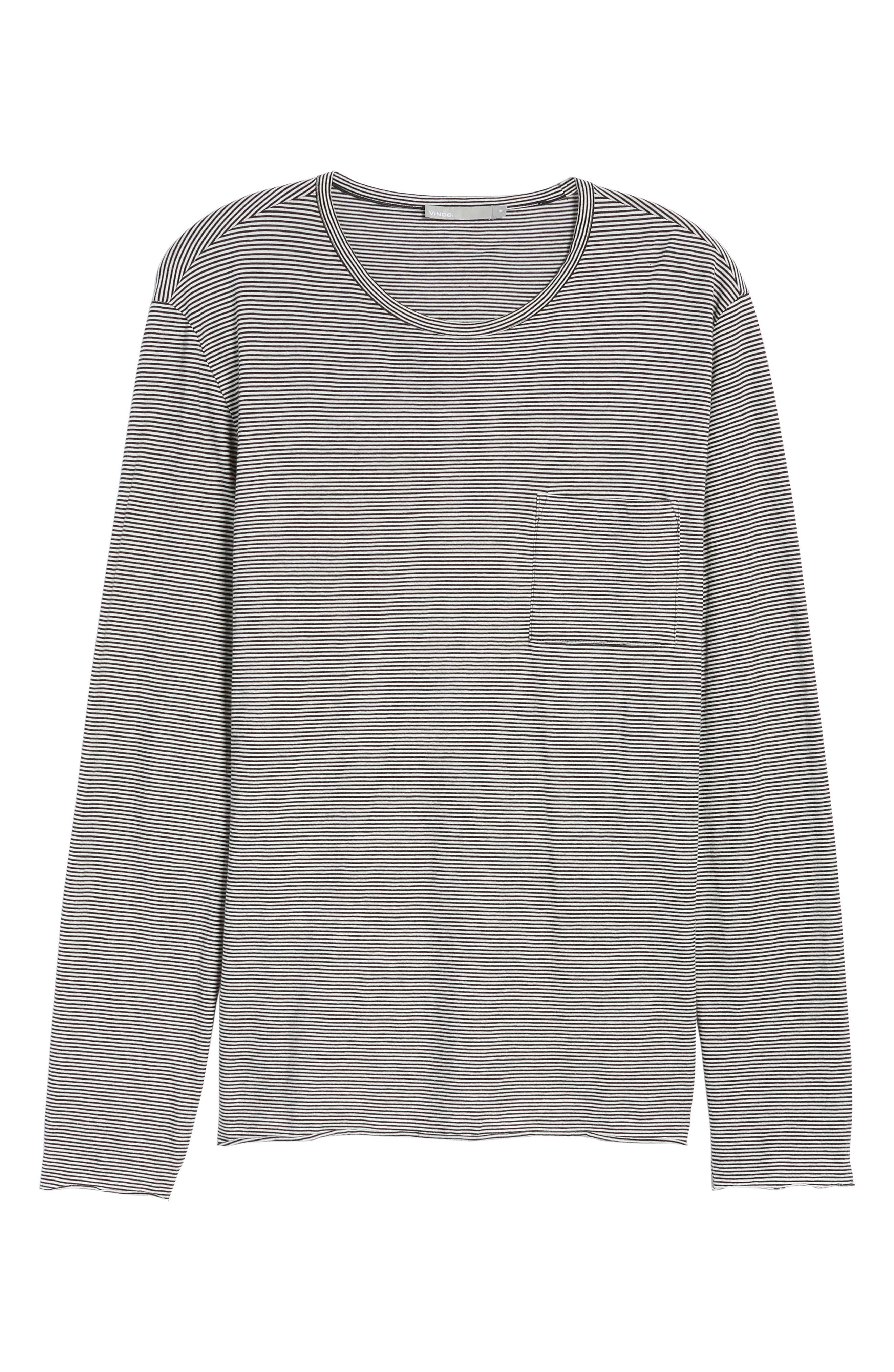 Feeder Stripe Long Sleeve Pocket T-Shirt,                             Alternate thumbnail 6, color,                             Black/ Leche