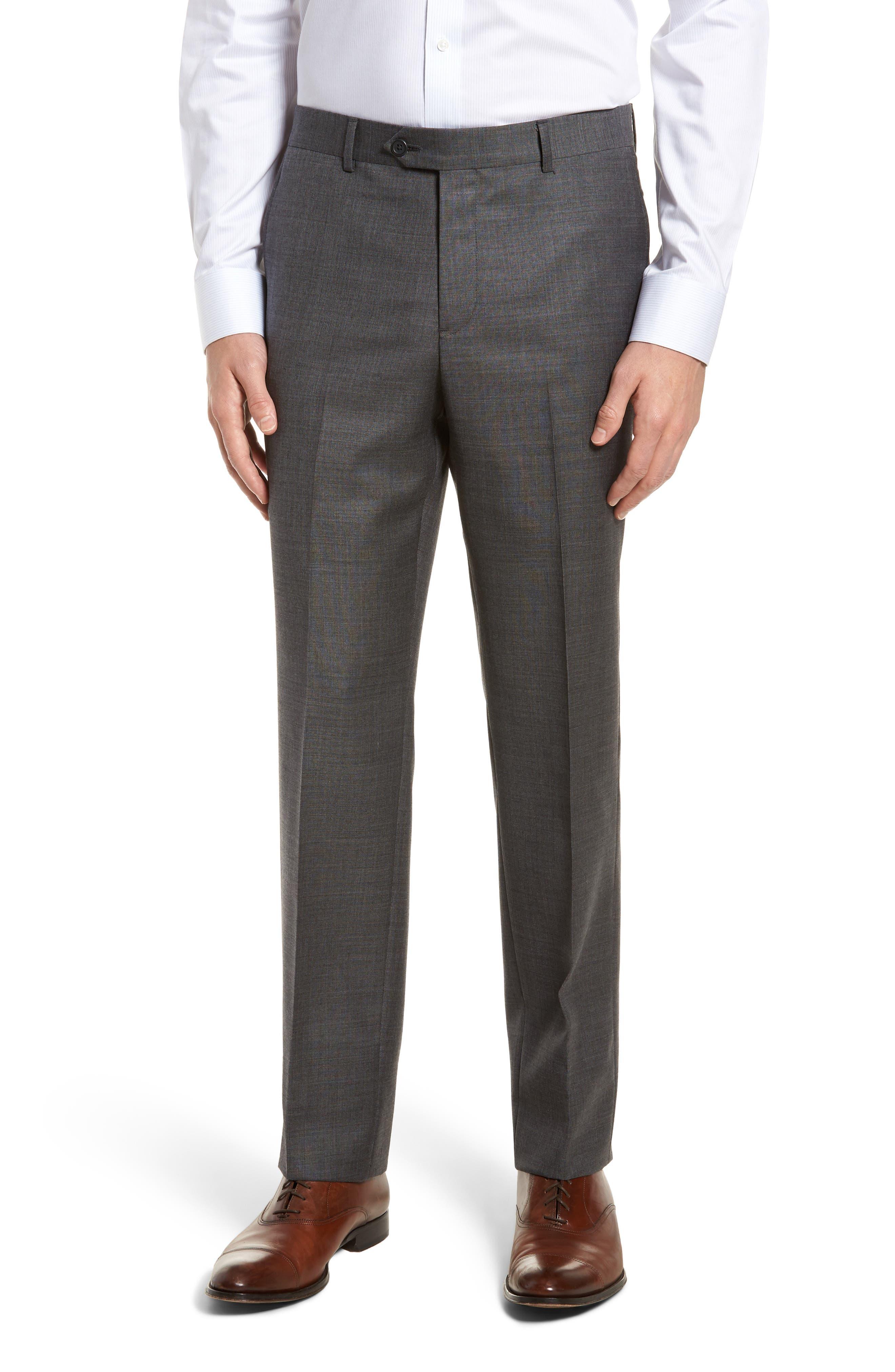 Trim Fit Sharkskin Wool Suit,                             Alternate thumbnail 6, color,                             Mid Char