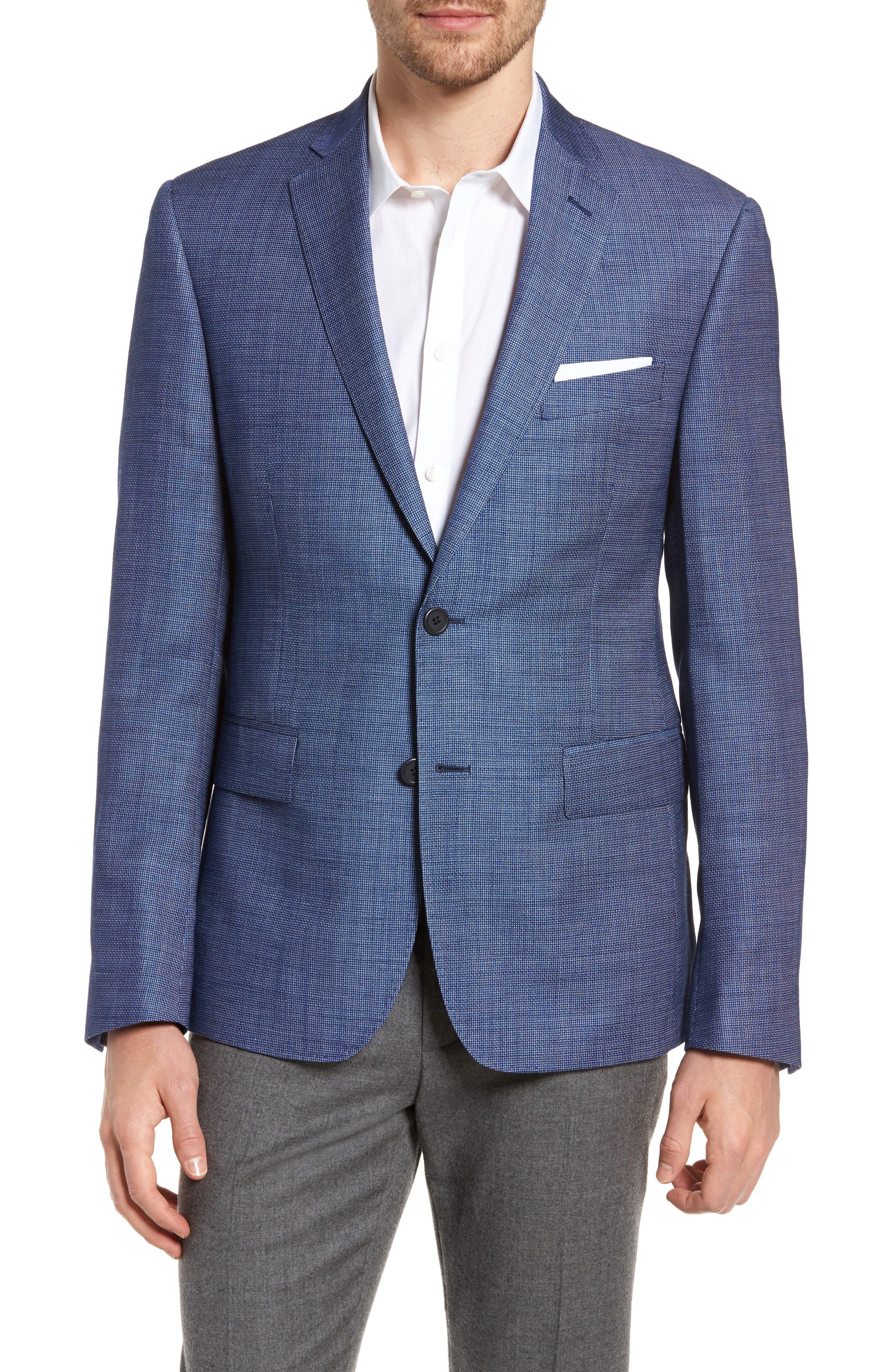 Extra Trim Fit Wool & Linen Blazer,                         Main,                         color, Navy Blue