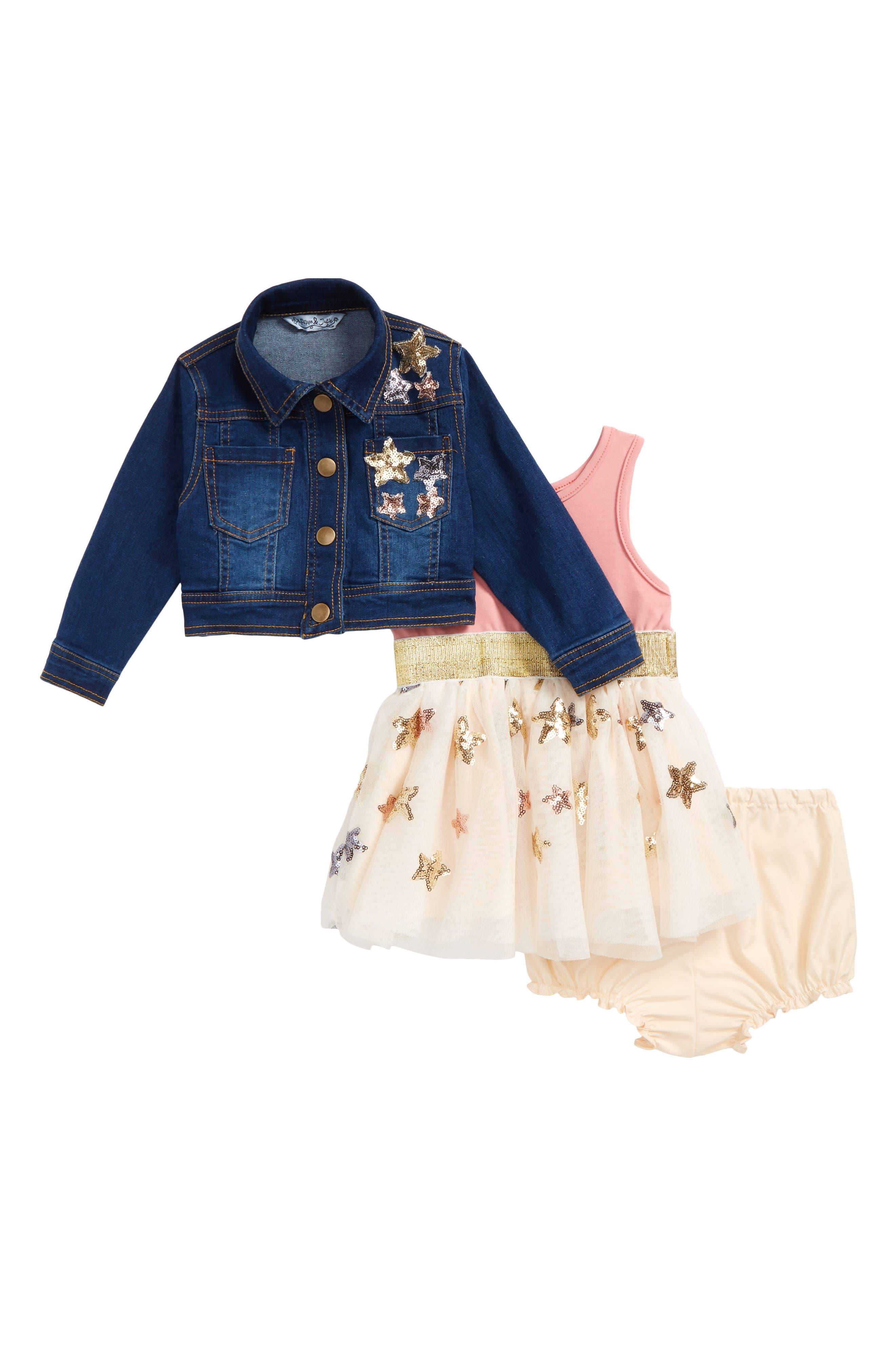 Sequin Star Tank Dress & Denim Jacket Set,                         Main,                         color, Denim