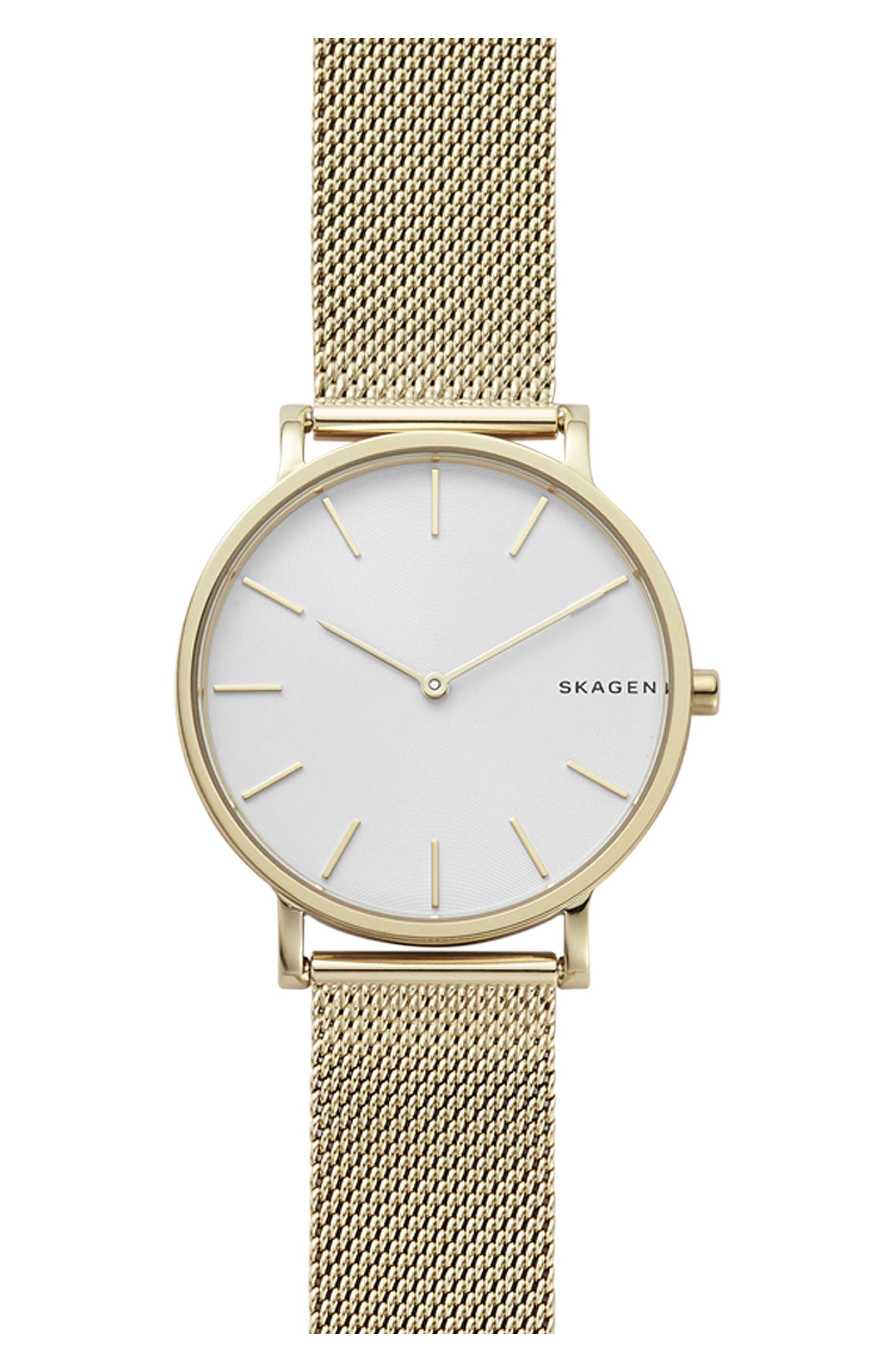 Hagen Slim Mesh Strap Watch, 38mm,                             Main thumbnail 1, color,                             Gold