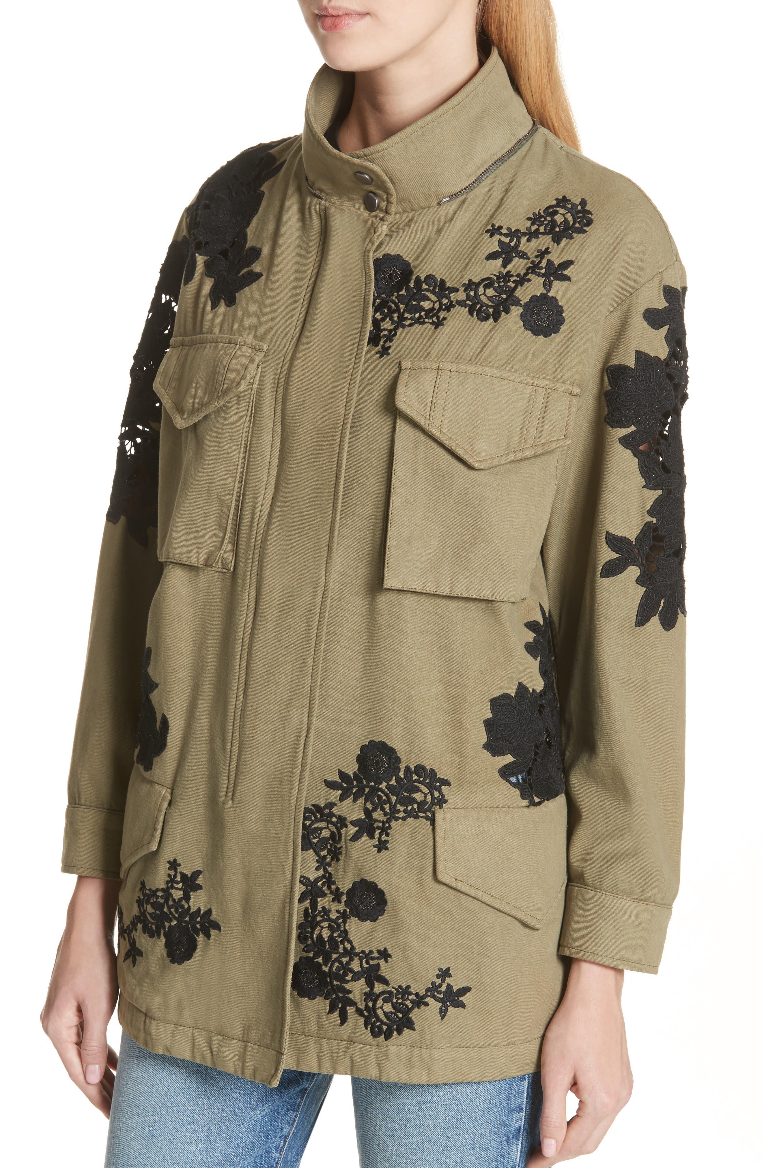 Meta Embroidered Utility Jacket,                             Alternate thumbnail 4, color,                             Olive/ Black
