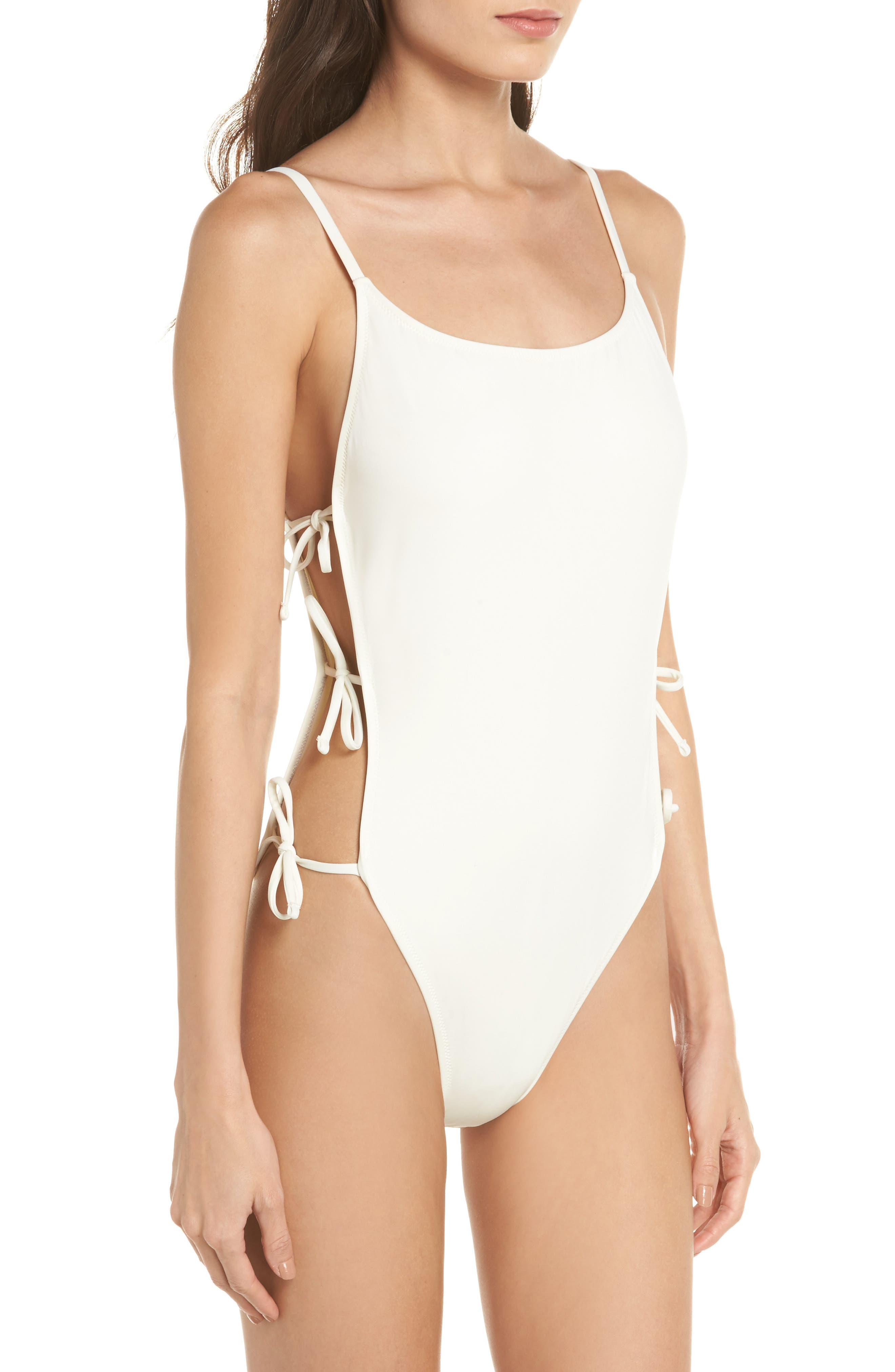 The Lily One-Piece Swimsuit,                             Alternate thumbnail 3, color,                             Ivory