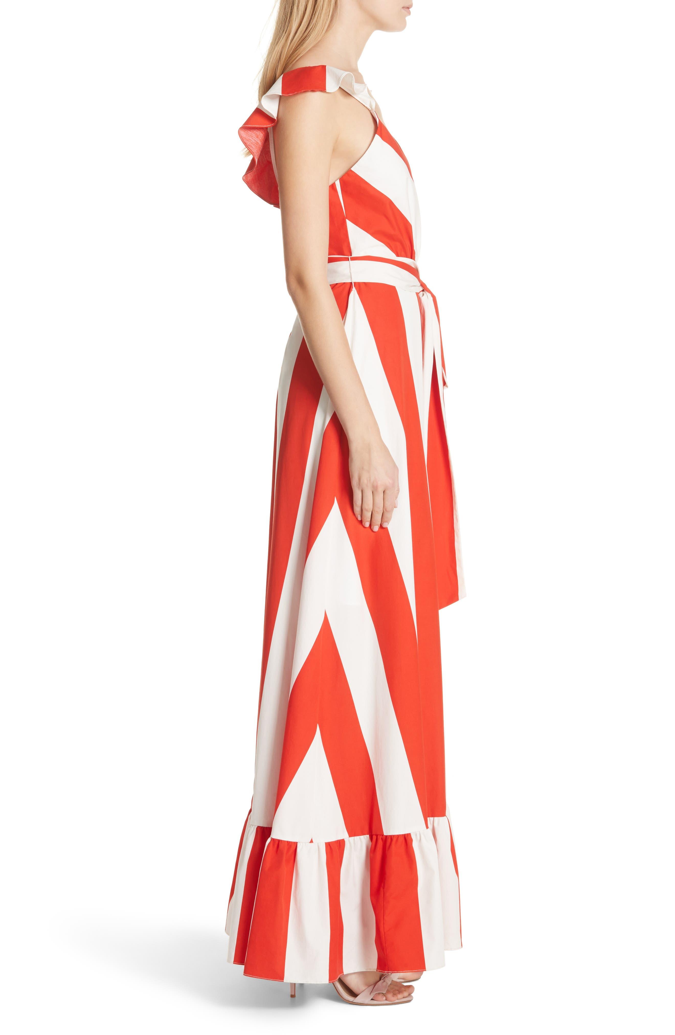 Fernanda Stripe Cotton Maxi Dress,                             Alternate thumbnail 3, color,                             Sixties Stripe- Poppy